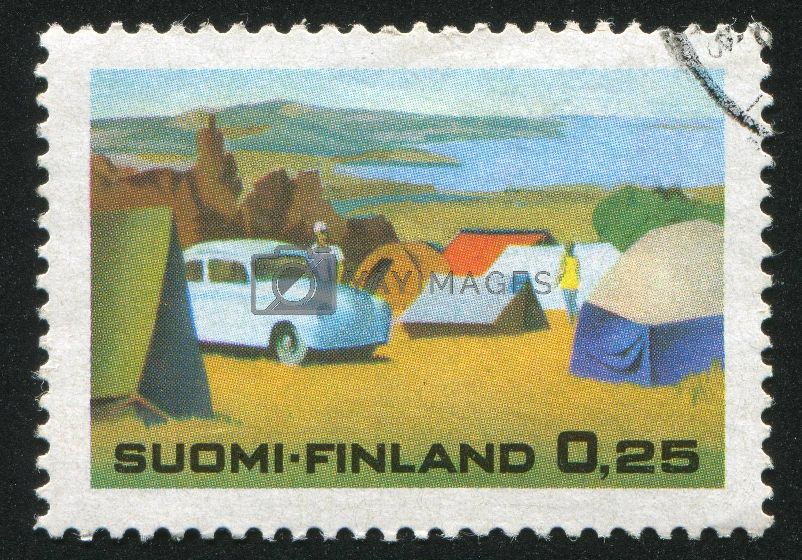 FINLAND - CIRCA 1968: stamp printed by Finland, shows Campingsite in Lake Area, circa 1968