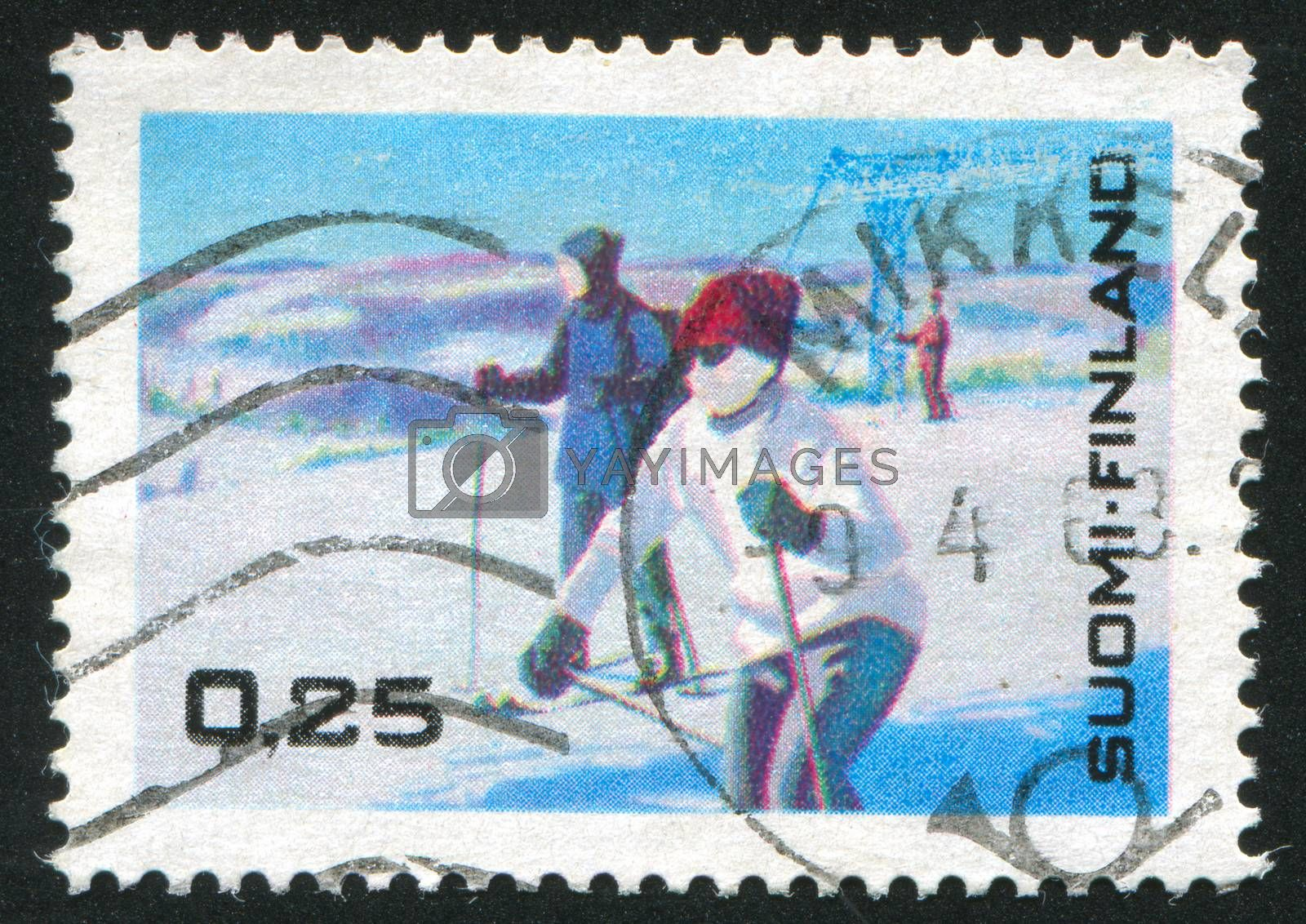FINLAND - CIRCA 1968: stamp printed by Finland, shows Skiing Tourists and Lift Chair, circa 1968