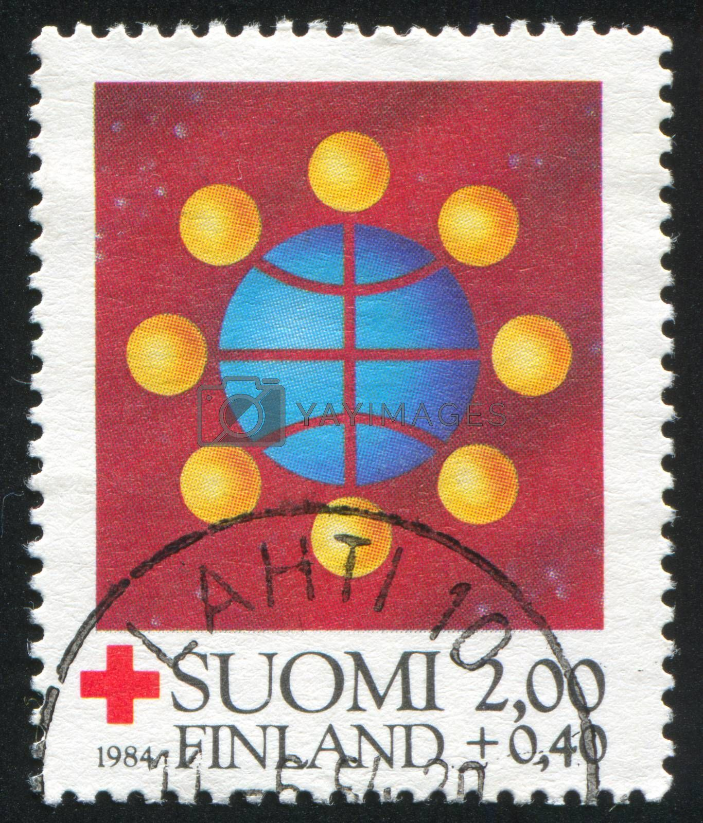 FINLAND - CIRCA 1984: stamp printed by Finland, shows Symbolic world communication, circa 1984