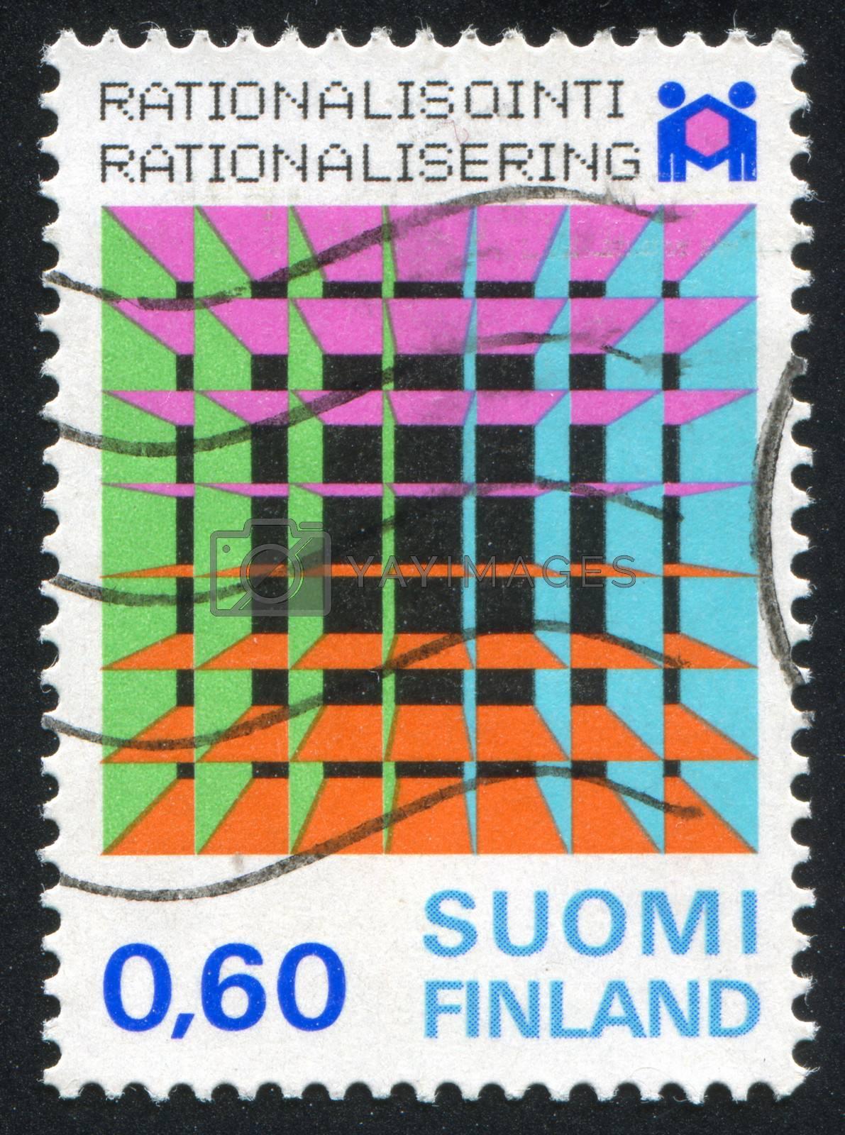 FINLAND - CIRCA 1974: stamp printed by Finland, shows Symbols, Badge, circa 1974