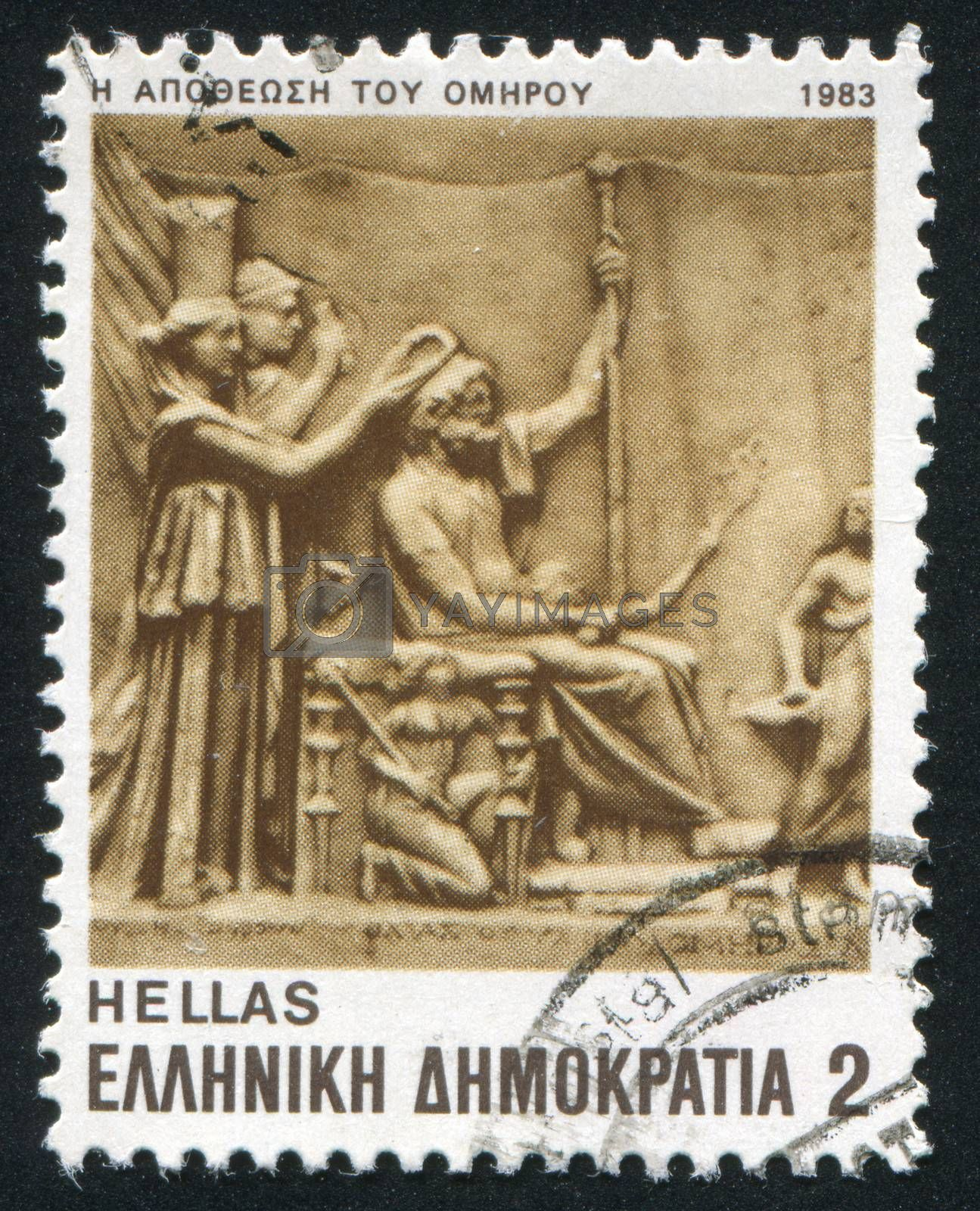 GREECE - CIRCA 1983: stamp printed by Greece, shows the deification of Homer, circa 1983