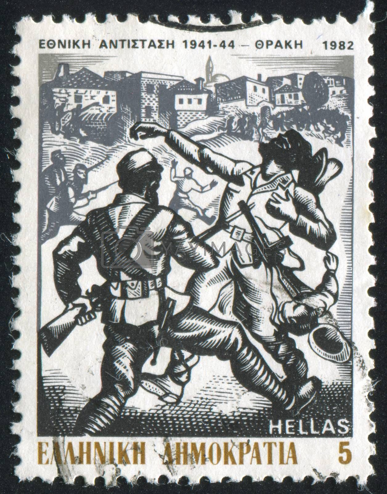 GREECE - CIRCA 1982: stamp printed by Greece, shows Resistance fighters in Thrace, by A. Tassos, circa 1982
