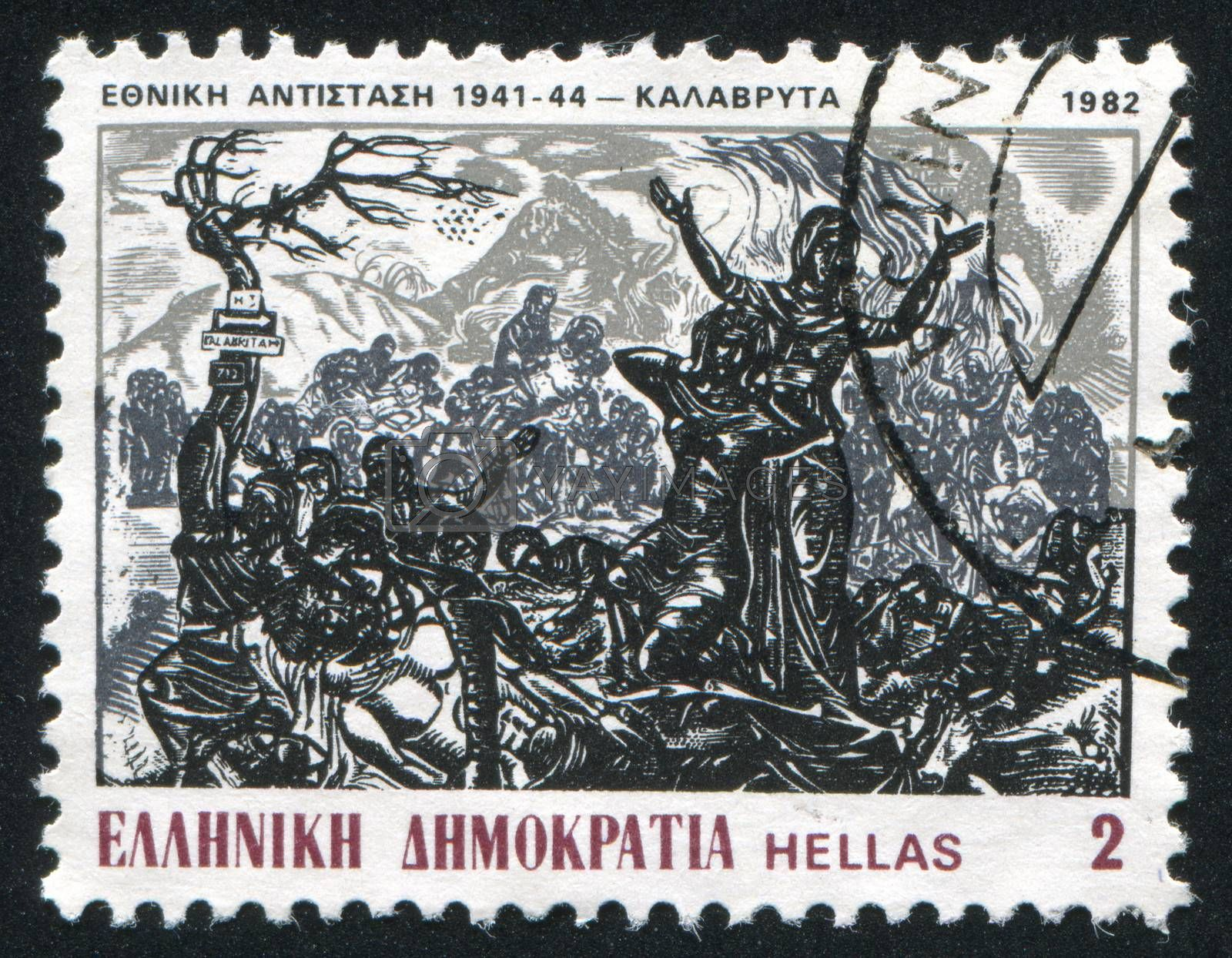 GREECE - CIRCA 1982: stamp printed by Greece, shows Sacrifice of inhabitants of Kalavrita, by S. Vasiliou, circa 1982