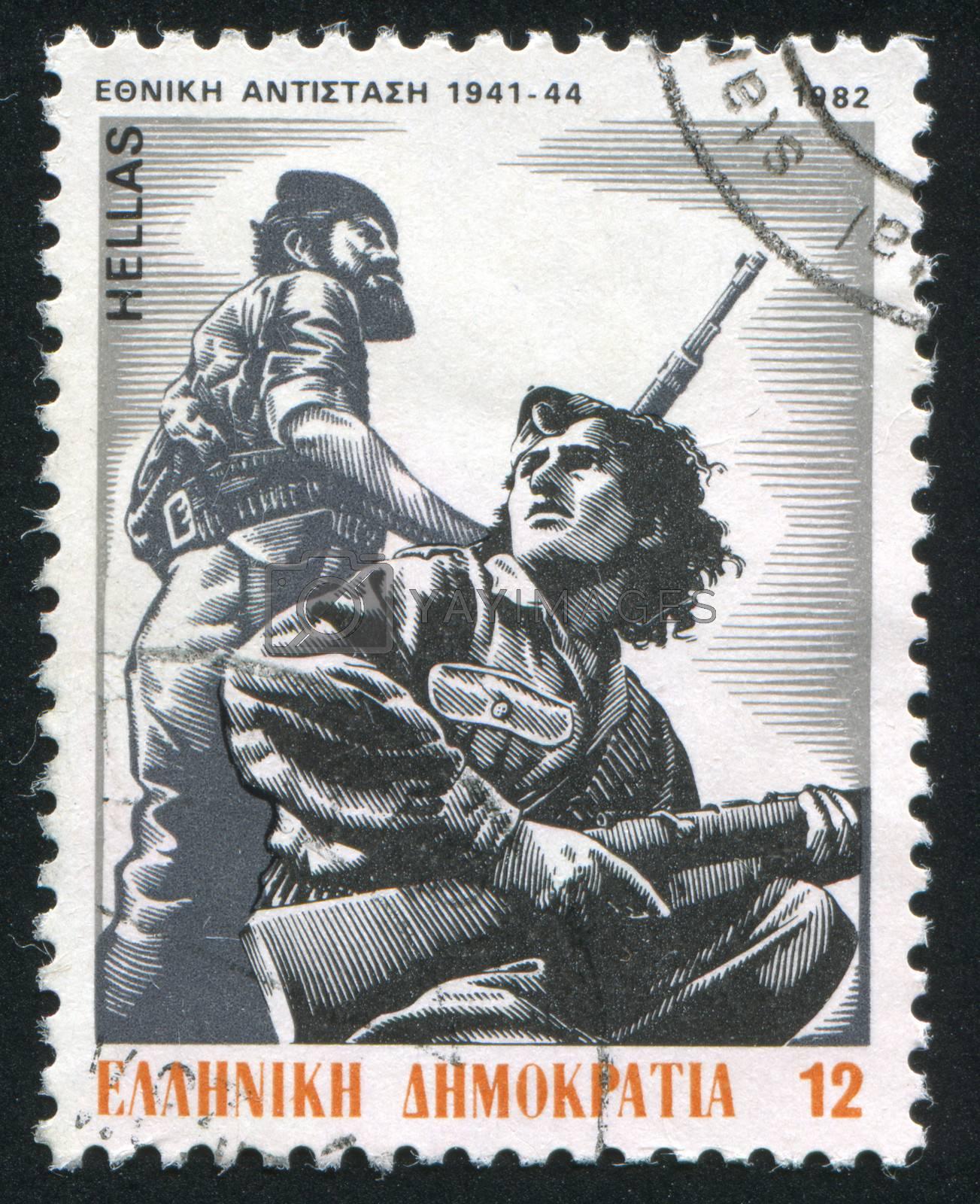 GREECE - CIRCA 1982: stamp printed by Greece, shows Partisan men and women, by P. Gravalos, circa 1982