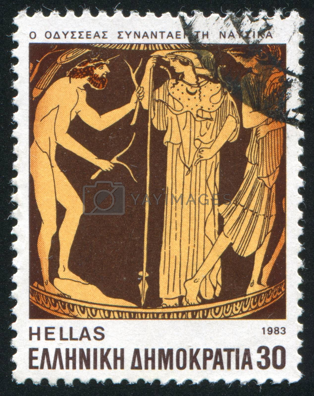 GREECE - CIRCA 1983: stamp printed by Greece, shows Ulysses meeting with Nausica, circa 1983