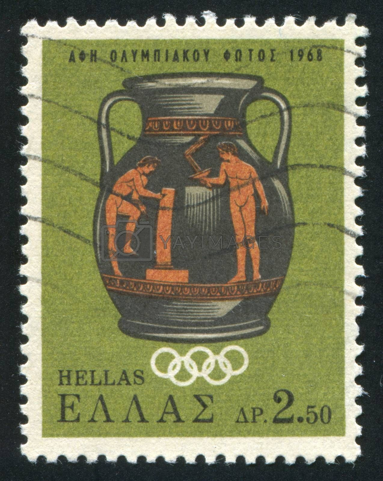 GREECE - CIRCA 1968: stamp printed by Greece, shows Lighting of the Olympic torch for the 19th Olympic games, Mexico city, circa 1968