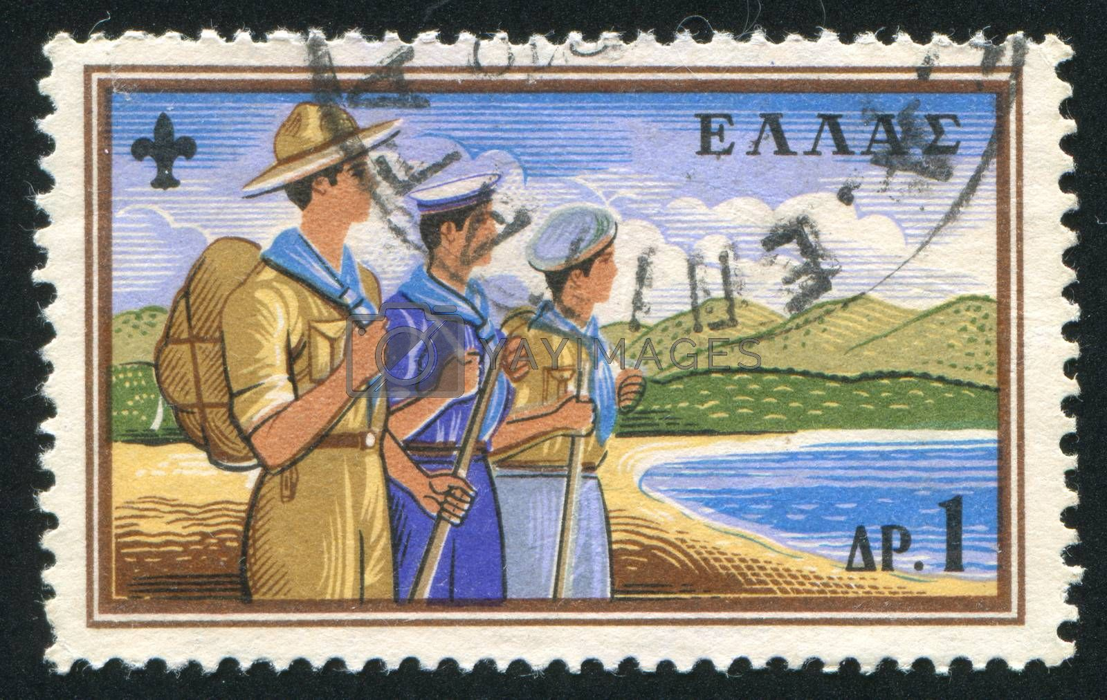 GREECE - CIRCA 1960: stamp printed by Greece, shows Boy Scout, Sea scout and air scout, circa 1960