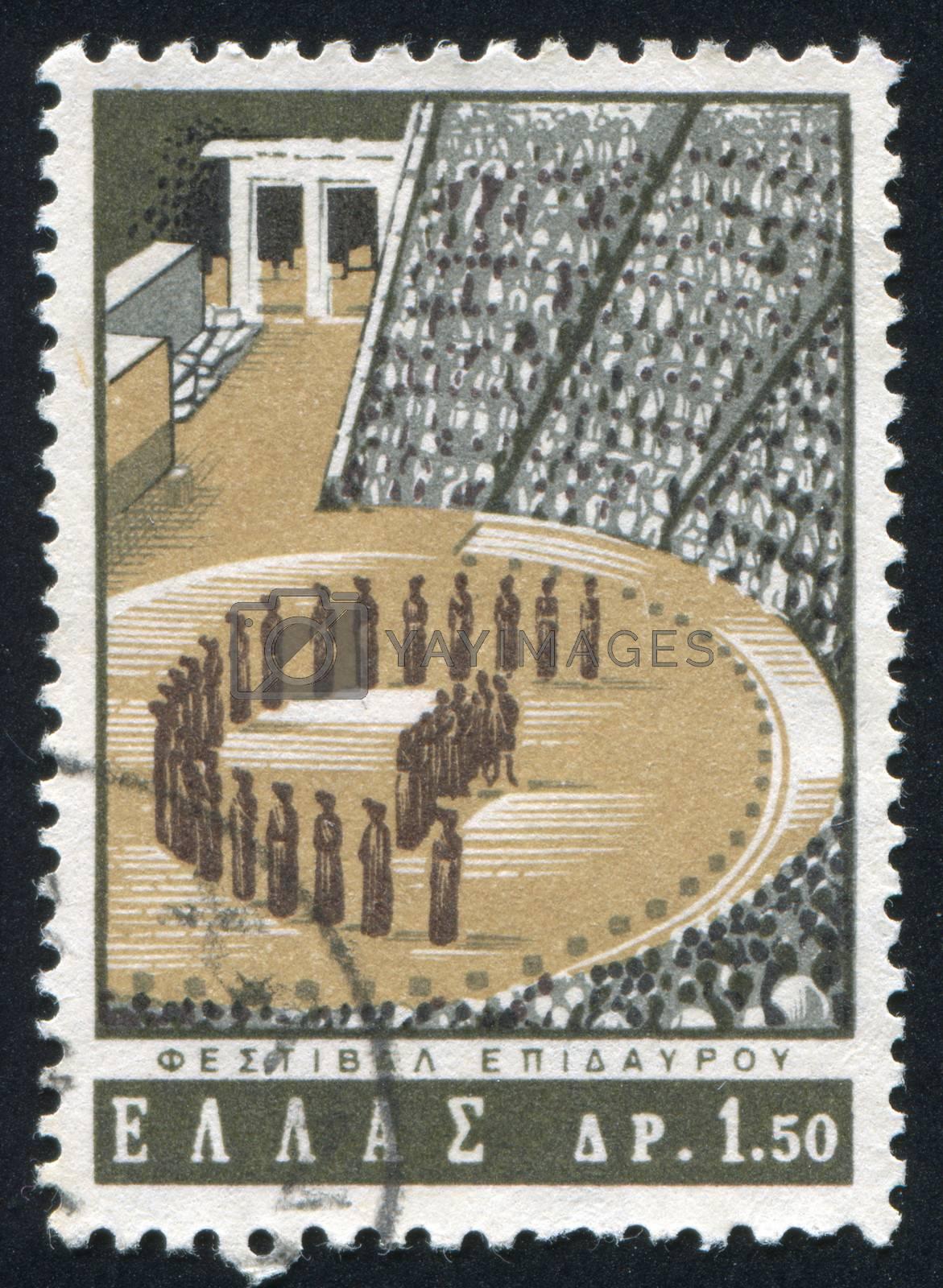 GREECE - CIRCA 1965: stamp printed by Greece, shows Aesculapius Theater, Epidauros, circa 1965