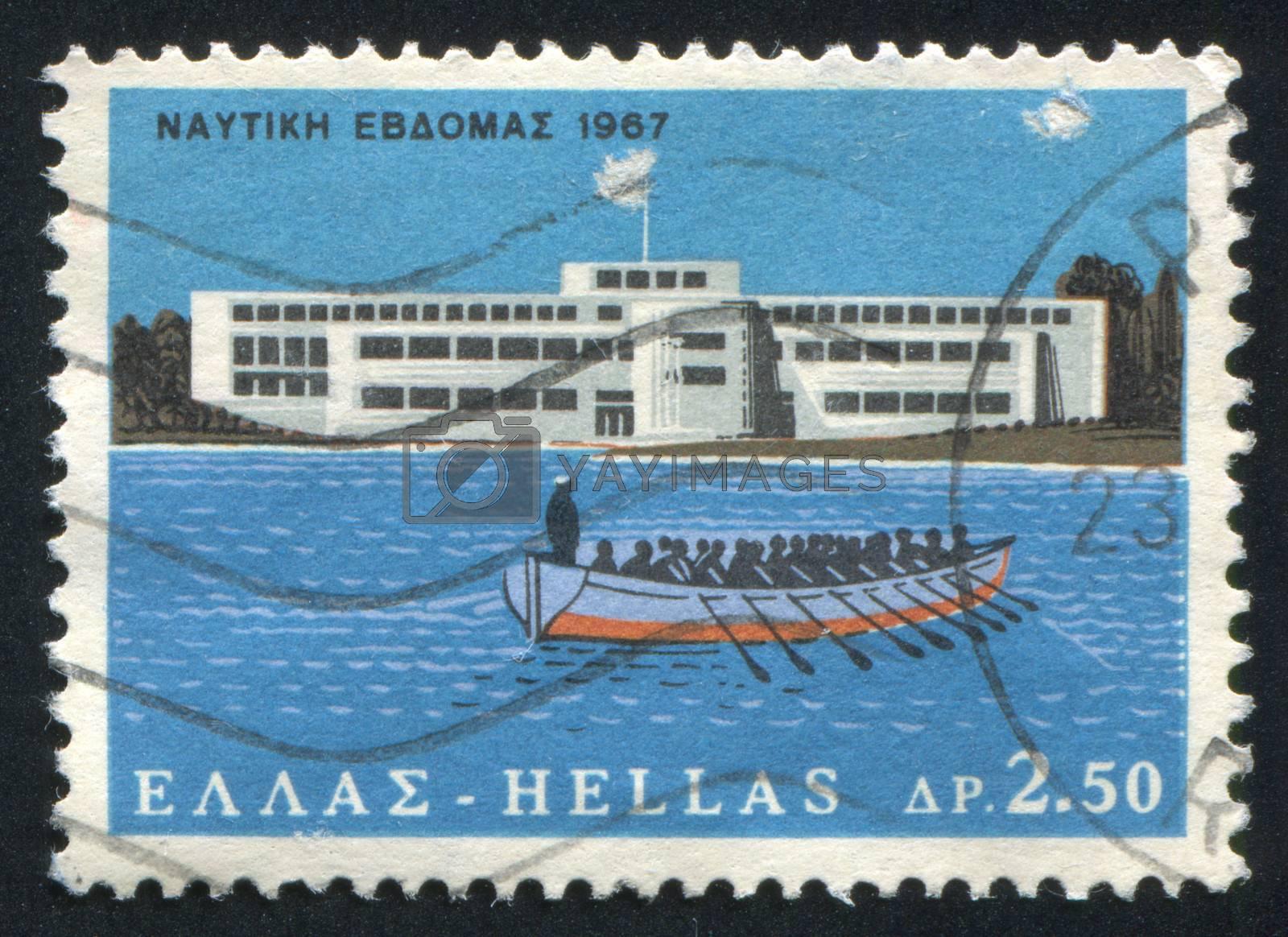 GREECE - CIRCA 1967: stamp printed by Greece, shows Merchant Marine Academy, Aspropyrgos, Attica, and rowing crew, circa 1967