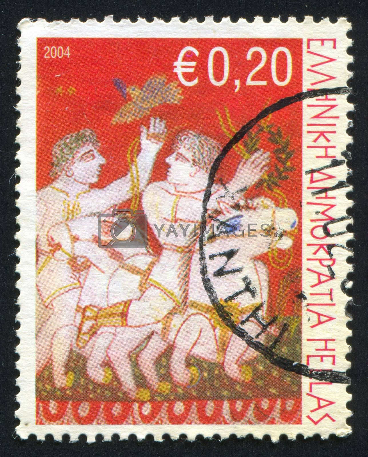 GREECE - CIRCA 2004: stamp printed by Greece, shows Horses and riders, circa 2004