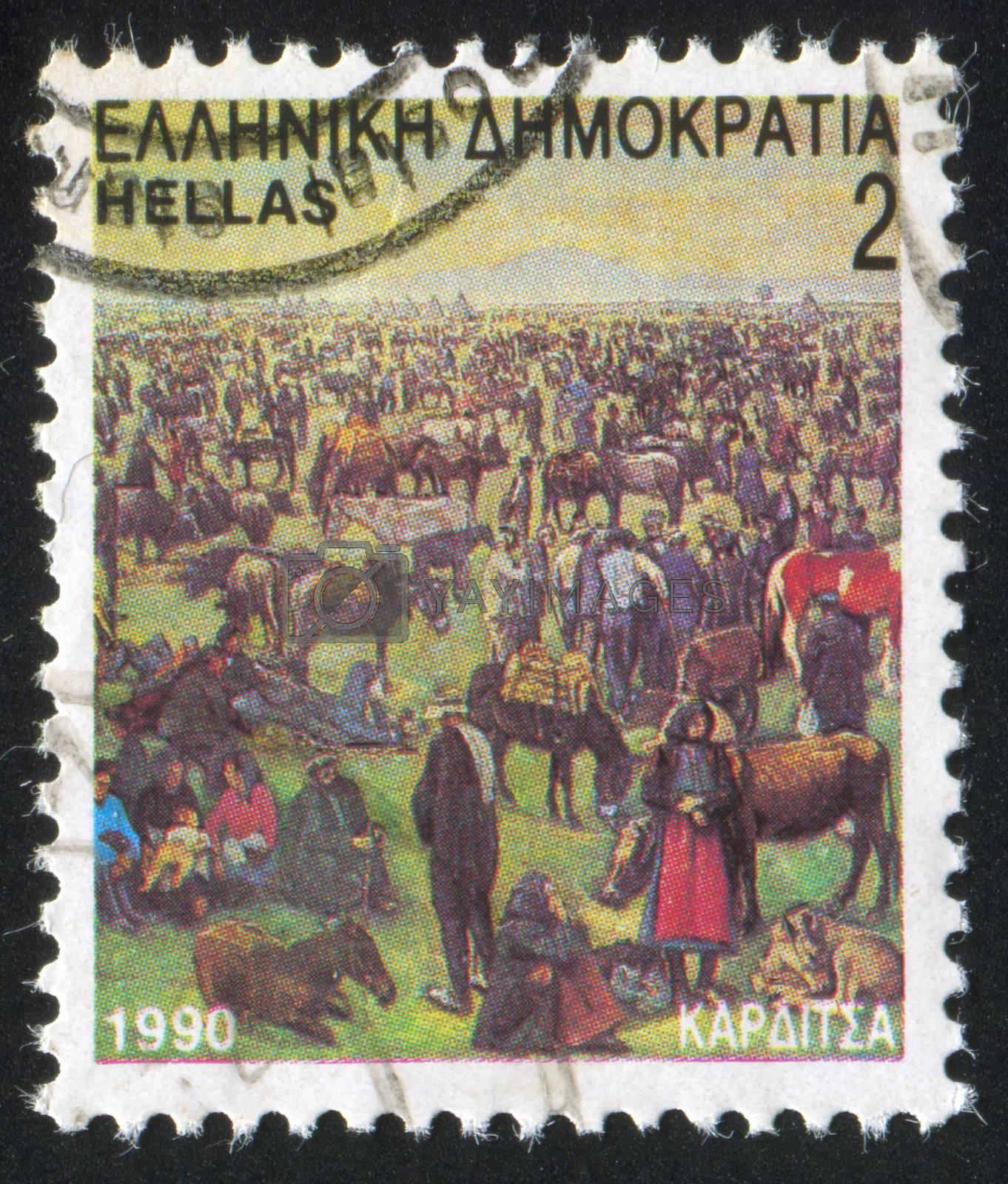 GREECE - CIRCA 1990: stamp printed by Greece, shows Karditsa, the commercial animal fair, circa 1990