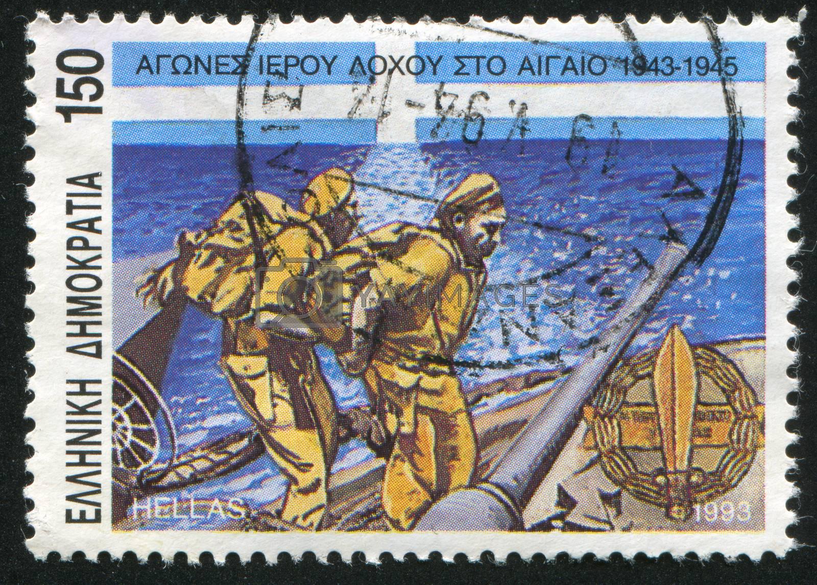 GREECE - CIRCA 1993: stamp printed by Greece, shows Greek troops in Aegan islands, circa 1993