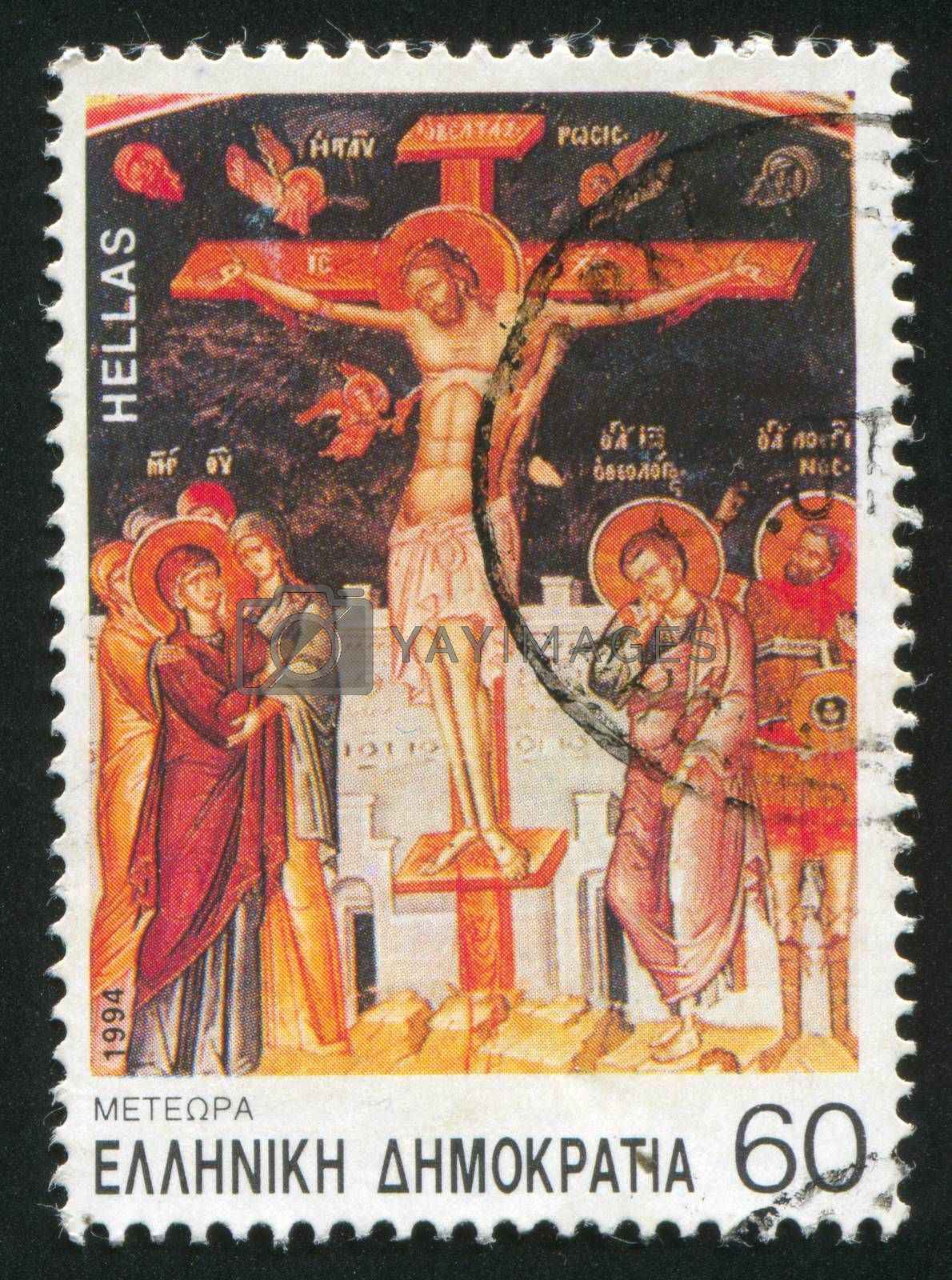 GREECE - CIRCA 1994: stamp printed by Greece, shows Crusifixion, detail from wall drawing, great Meteoron, circa 1994