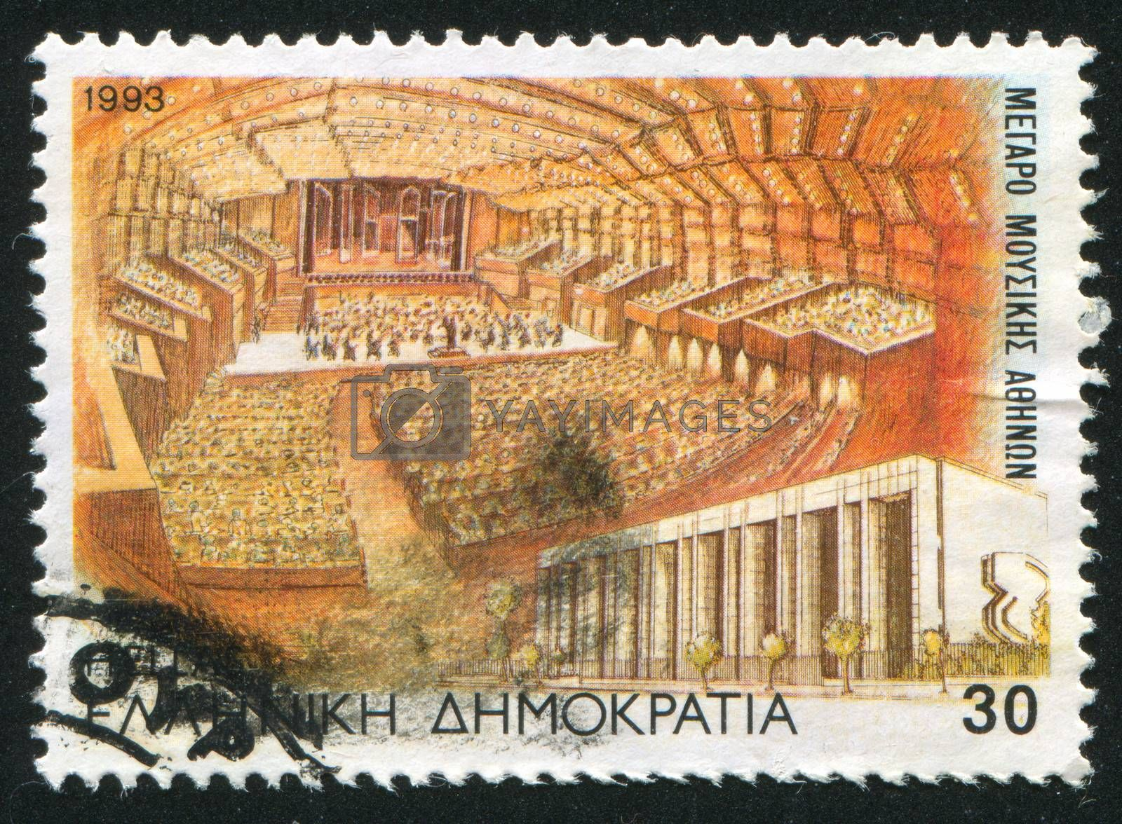 GREECE - CIRCA 1993: stamp printed by Greece, shows Concert hall, building in Athens, circa 1993