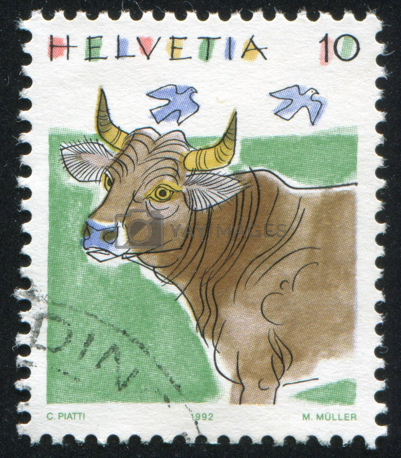 SWITZERLAND - CIRCA 1992: stamp printed by Switzerland, shows Cow, Animals, circa 1992