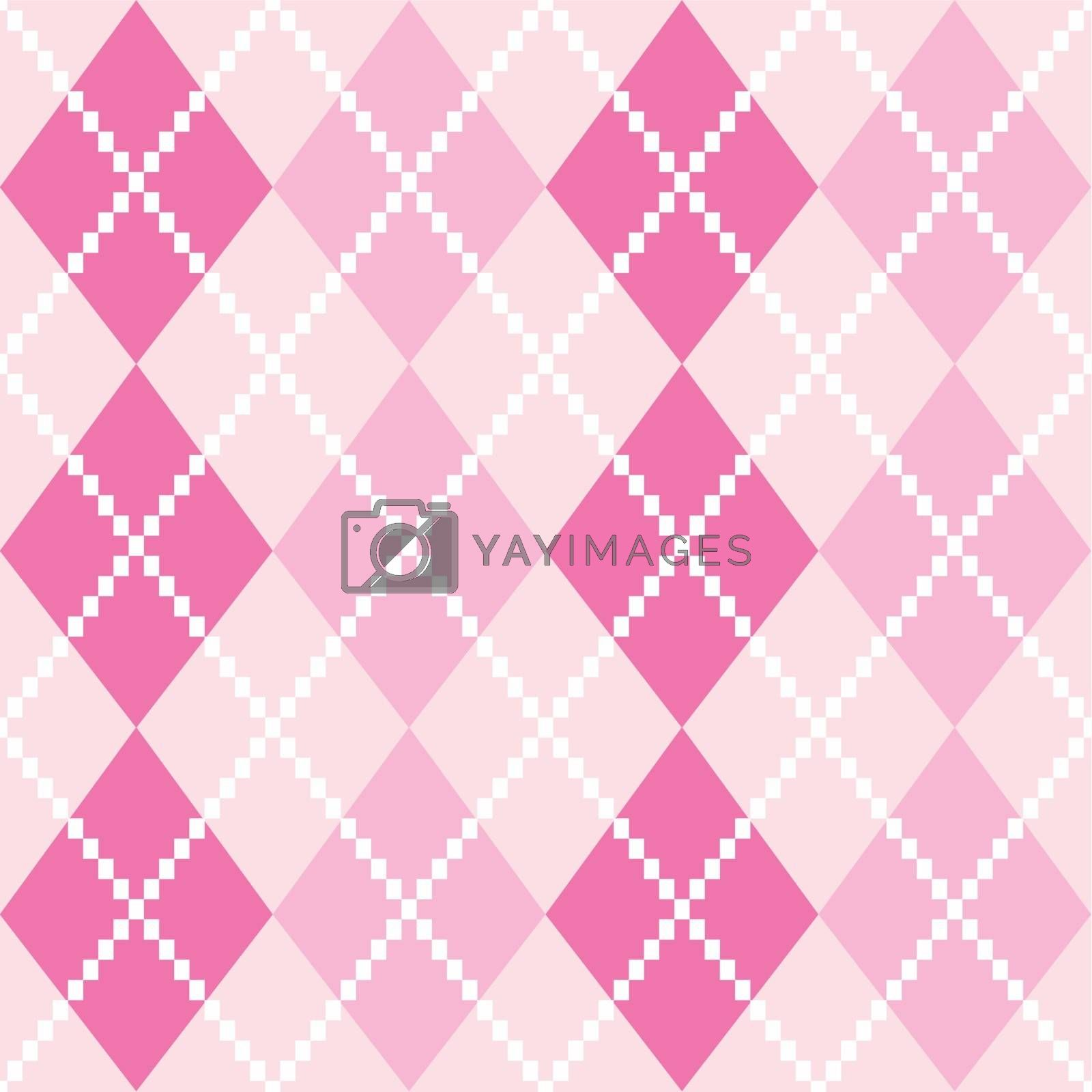 Argyle pattern in pink shades. Vector background