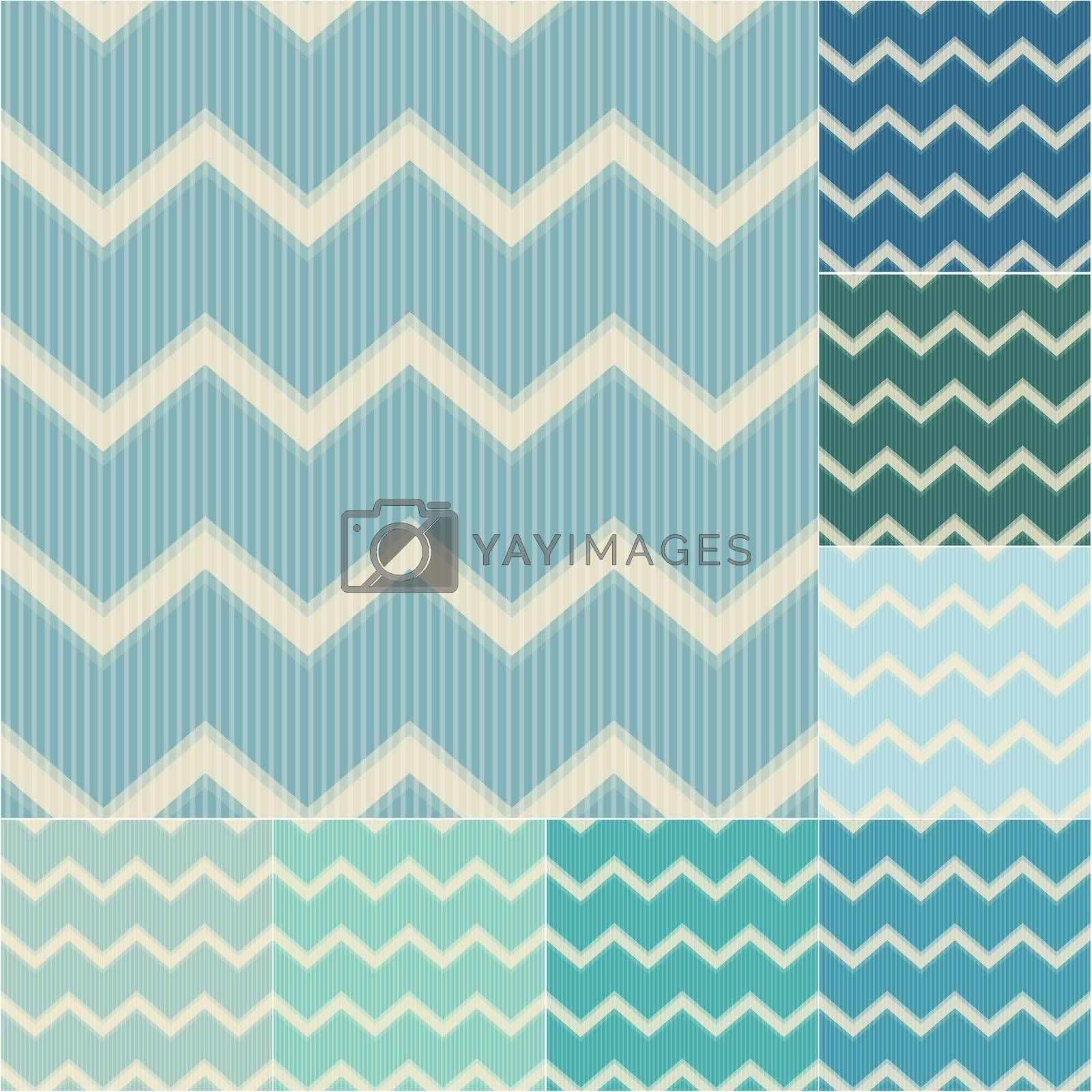 seamless green and blue chevron pattern set