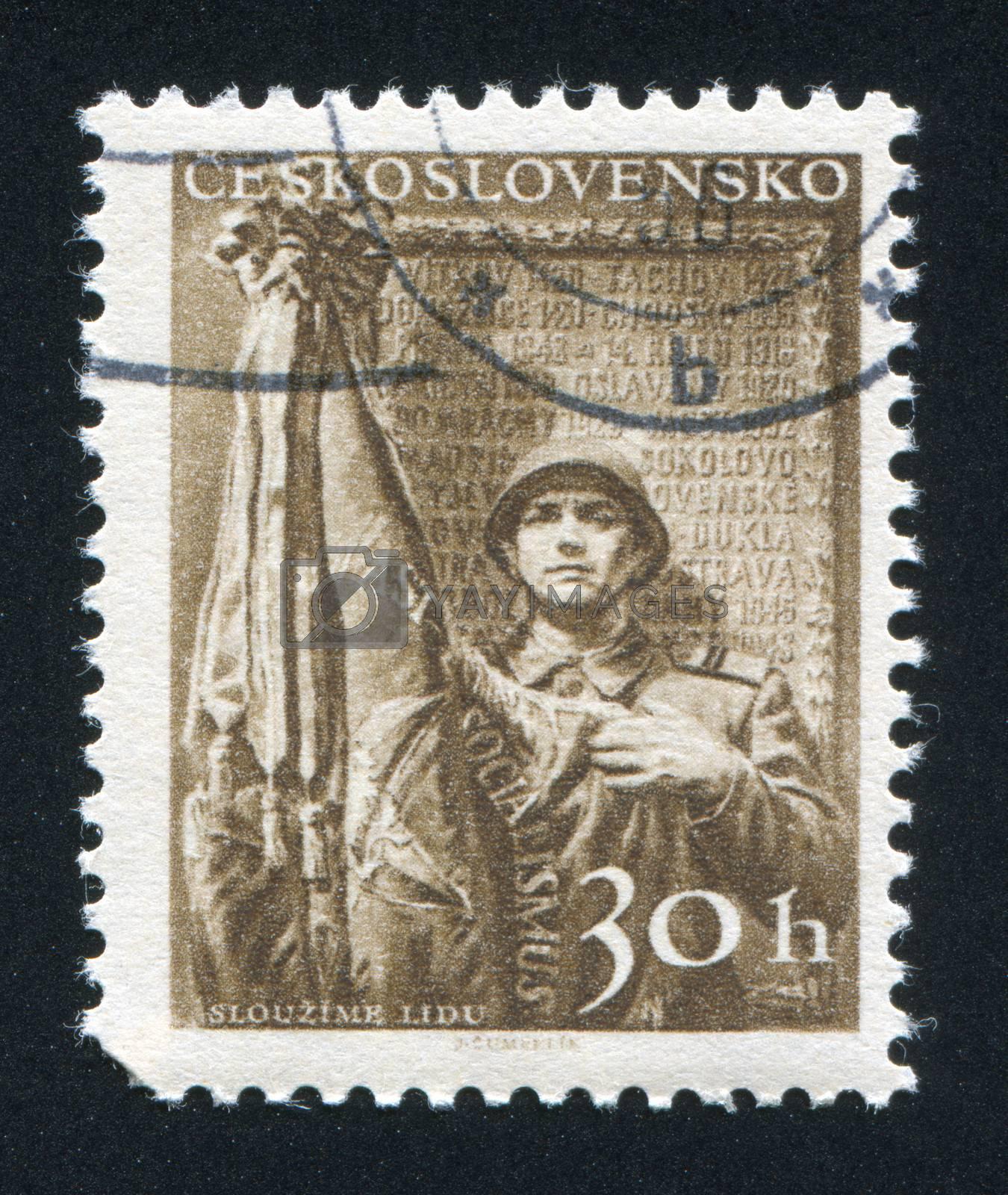 CZECHOSLOVAKIA - CIRCA 1956: stamp printed by Czechoslovakia, shows ���We Serve our People���, circa 1956
