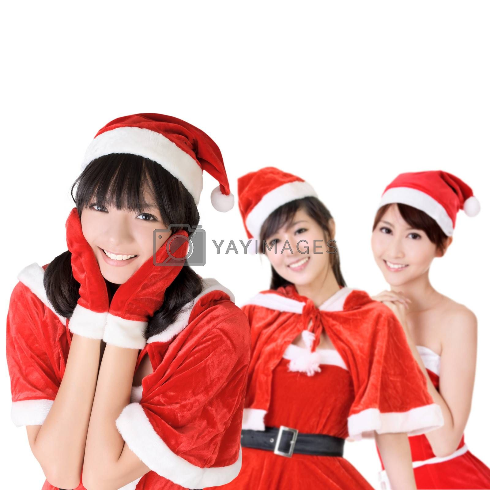 Happy smiling Asian Christmas girls, closeup portrait of three young women.