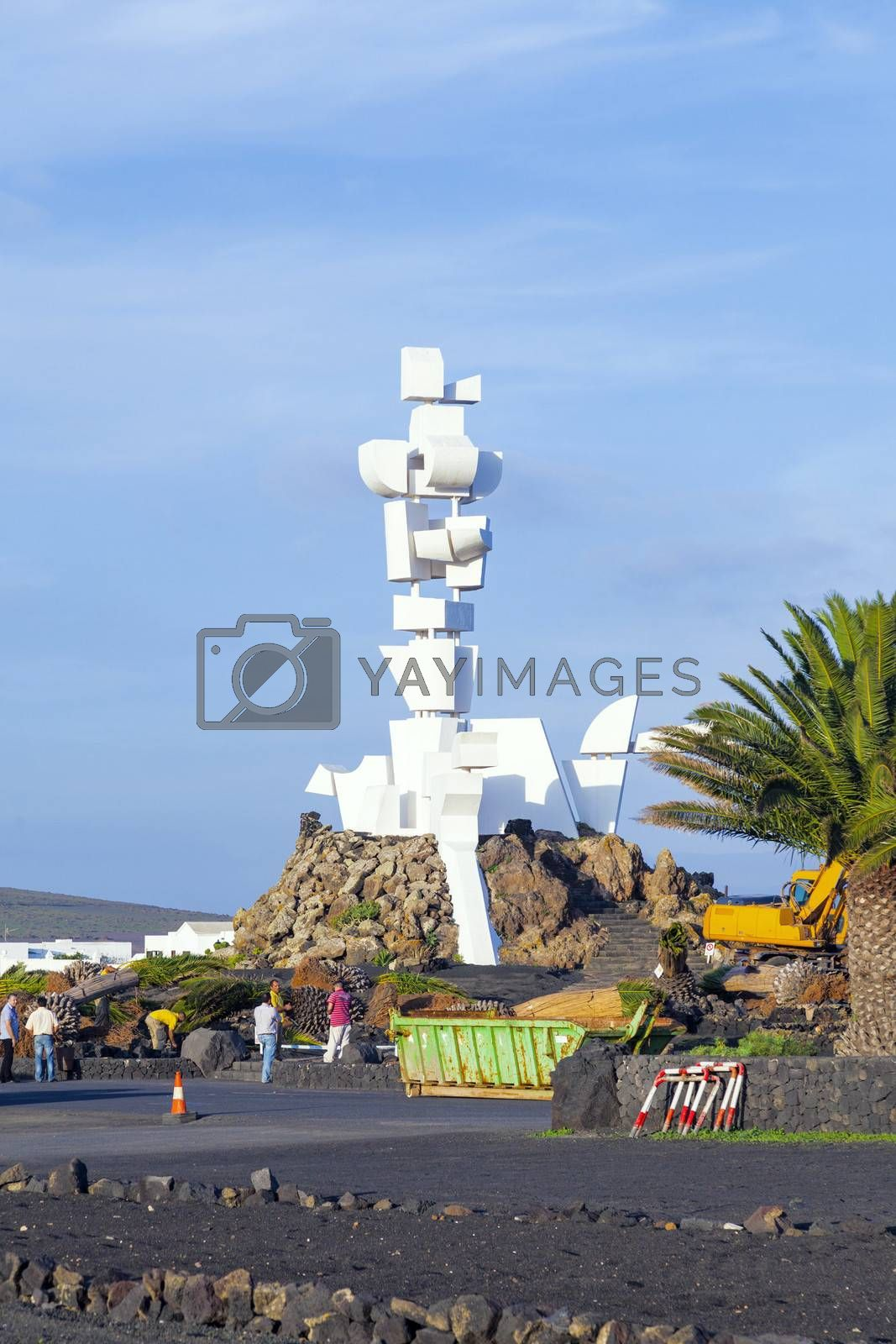 LANZAROTE, SPAIN - JANUARY 4: people visit memorial el Campesino on January 4,2011 in Lanzarote, Spain, El Campesino was formend by Caesar Manrique with old ship tanks.