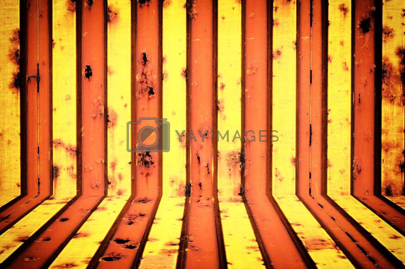 Yellow and rusty metal texture
