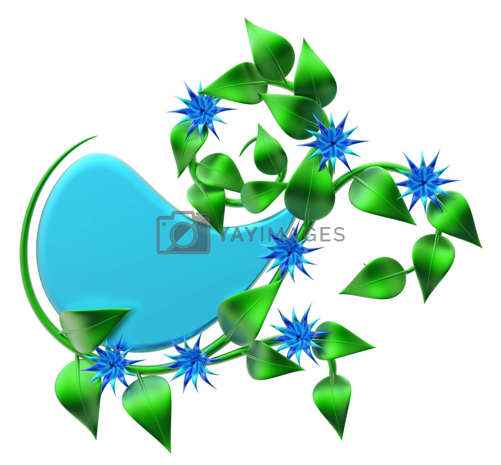 abstract green branch with leafs and flowers as decoration for frames