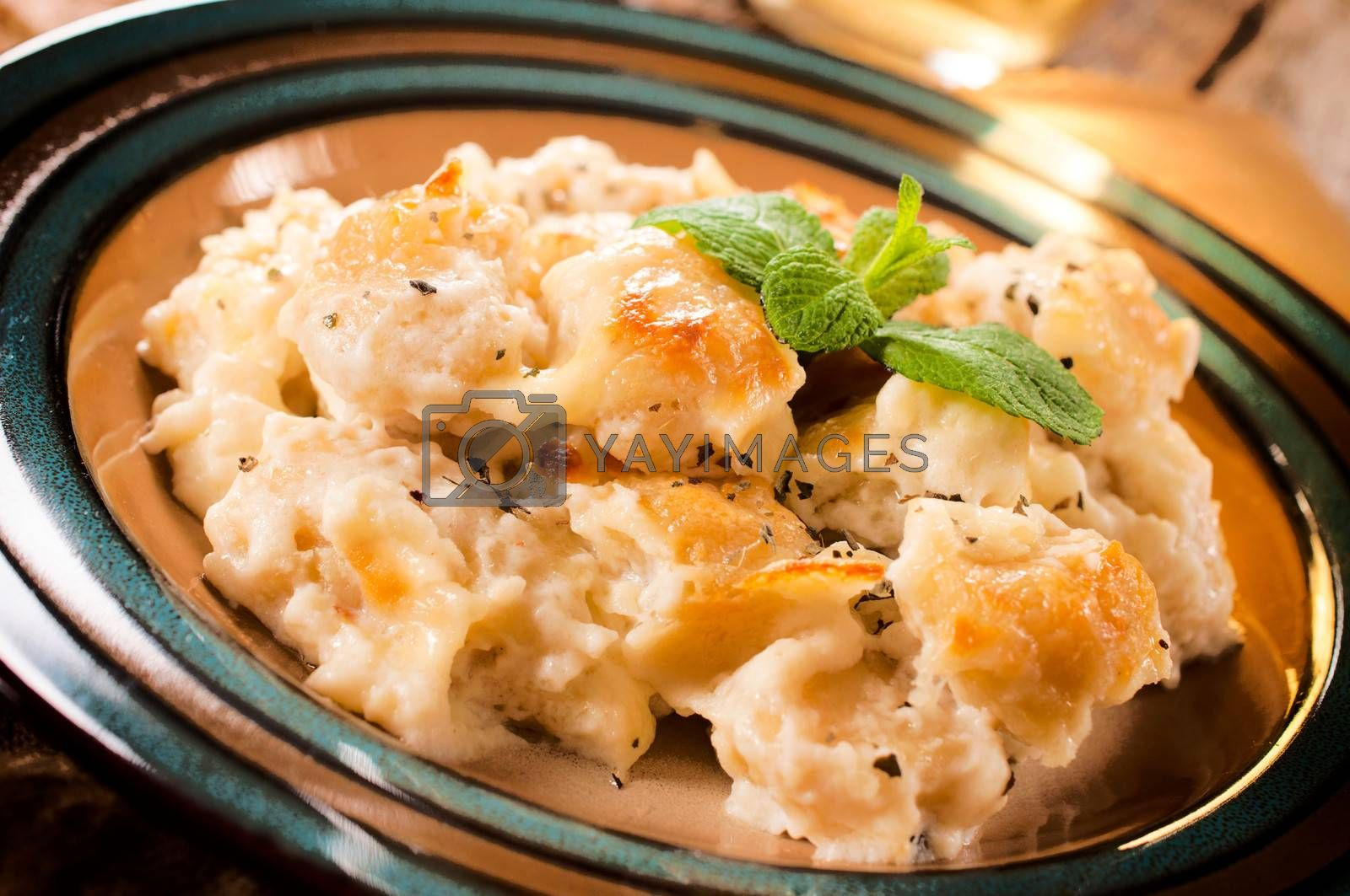 Gnocchi with cheese in the plate.selective focus on the top