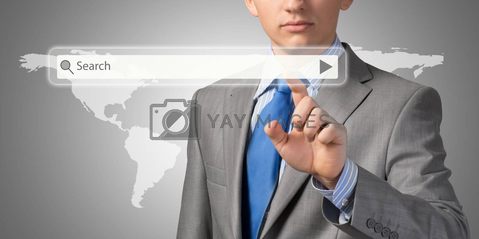 Businessman pushing on a touch screen by adam121