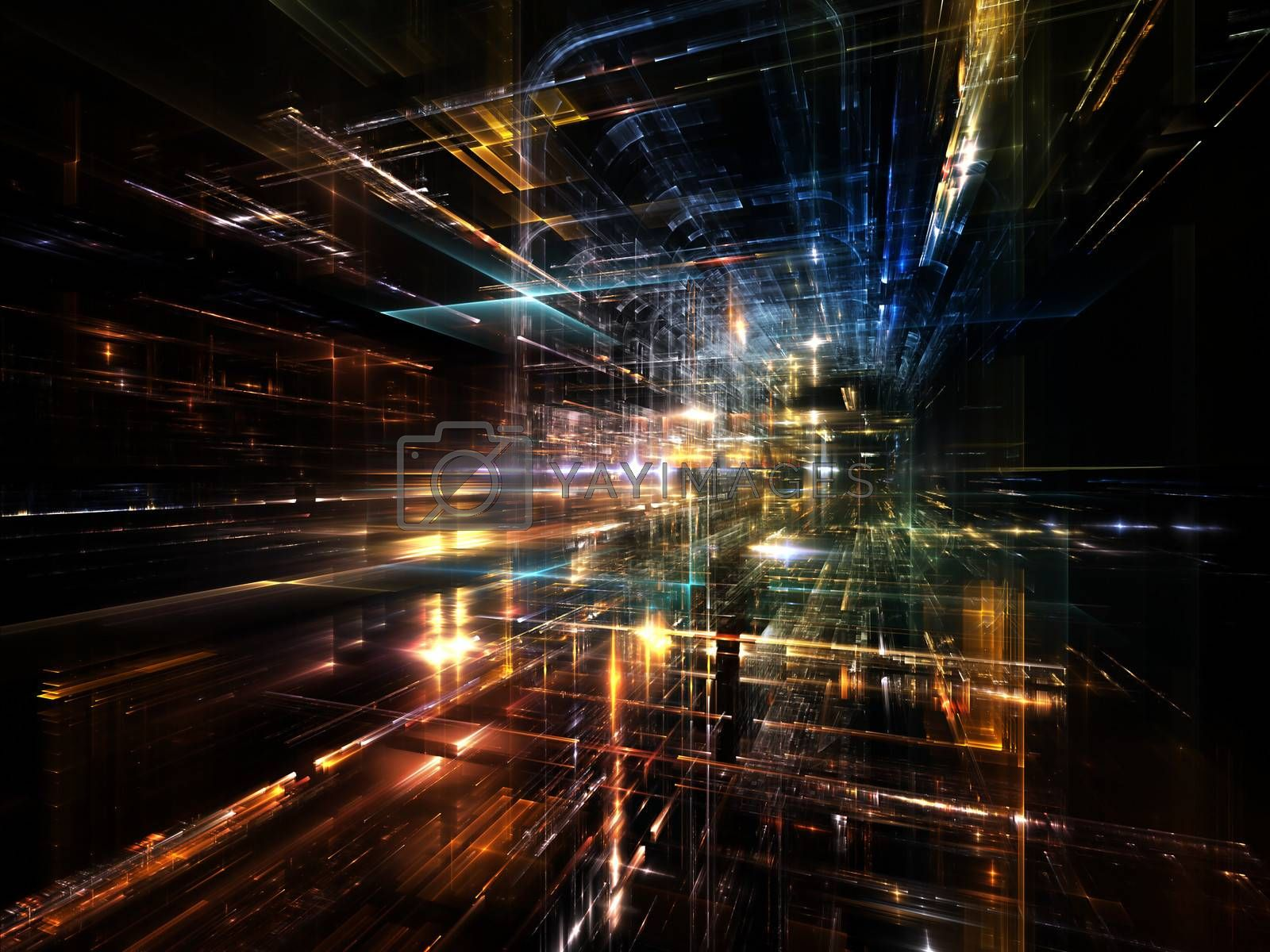 City Lights series. Composition of  technological fractal textures to serve as a supporting backdrop for projects on science, technology, design and imagination