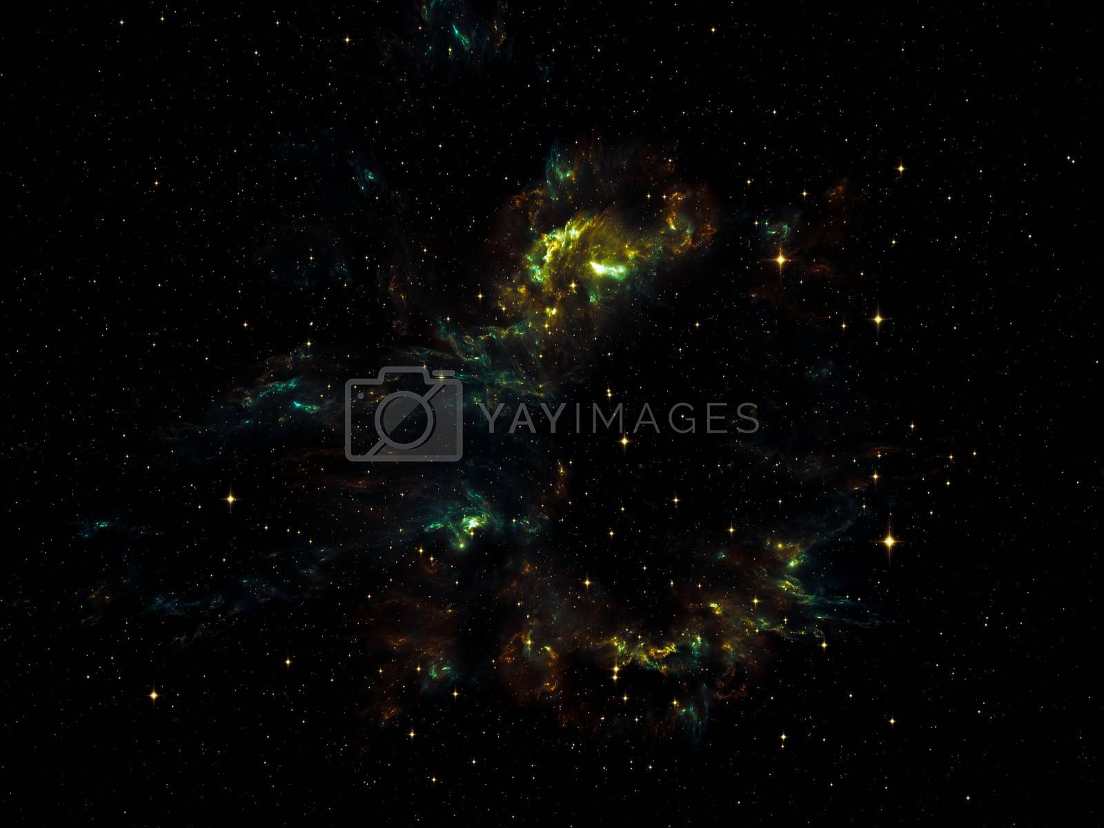 Universe Is Not Enough series. Artistic background made of fractal elements, lights and textures for use with projects on fantasy, science, religion and design