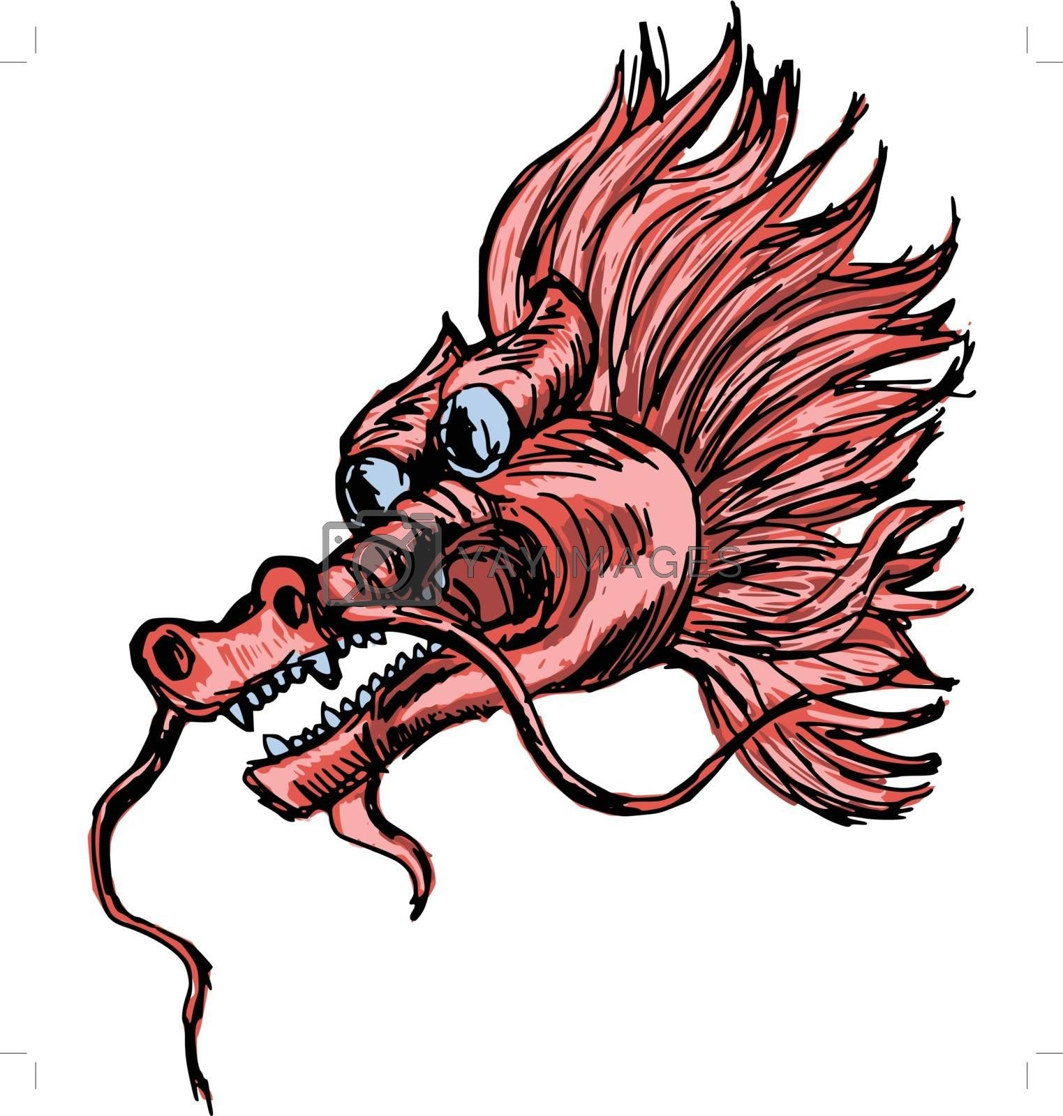 hand drawn, sketch, cartoon illustration of Chinese dragon