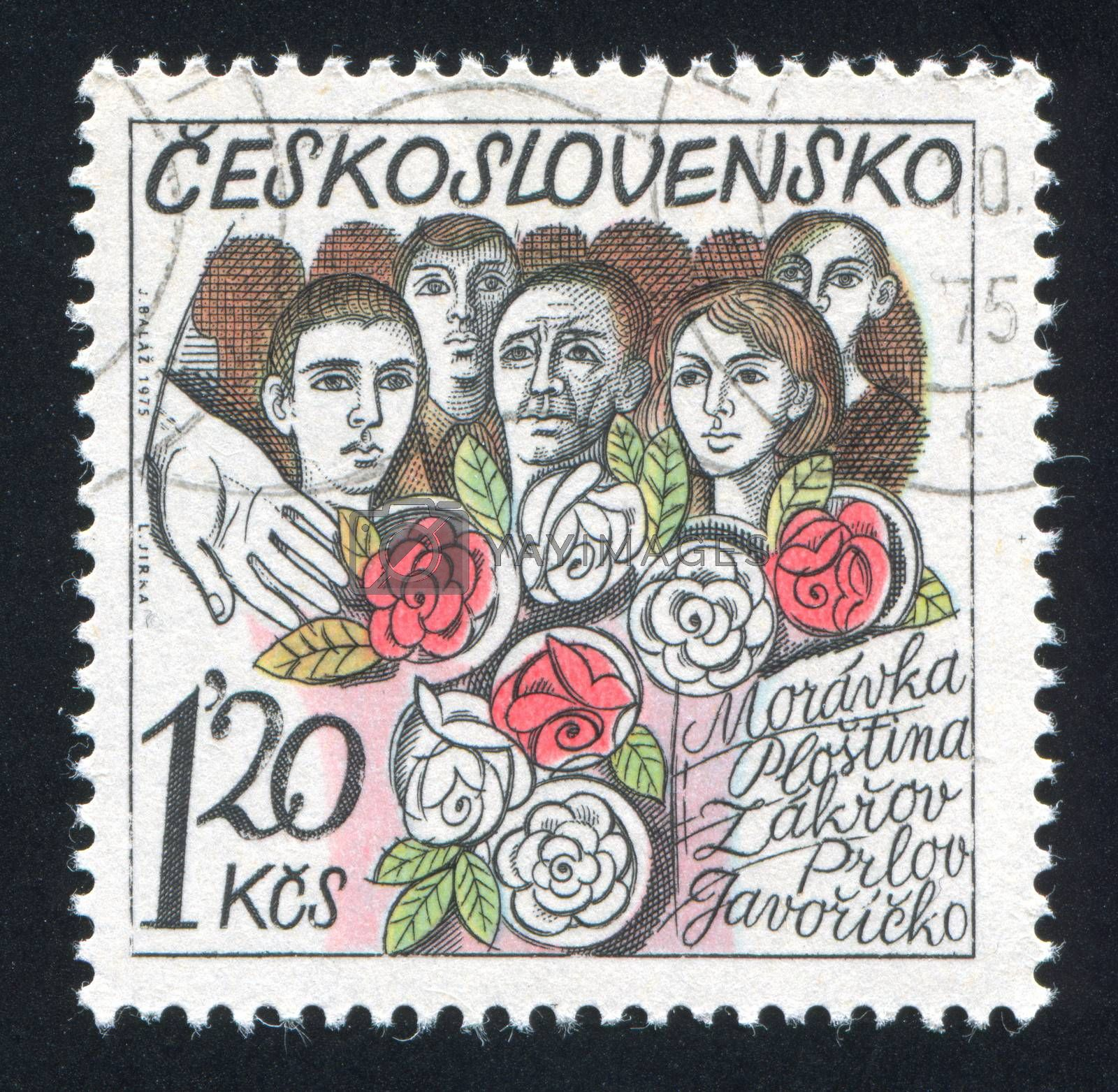 CZECHOSLOVAKIA - CIRCA 1975: stamp printed by Czechoslovakia, shows People and roses, circa 1975