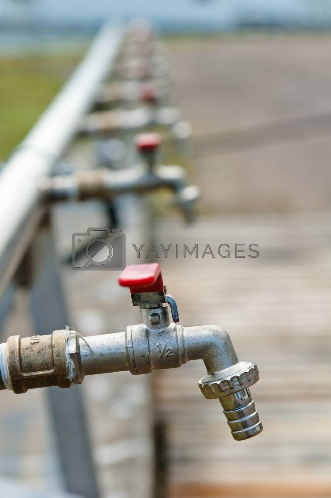 Water valves, close-up