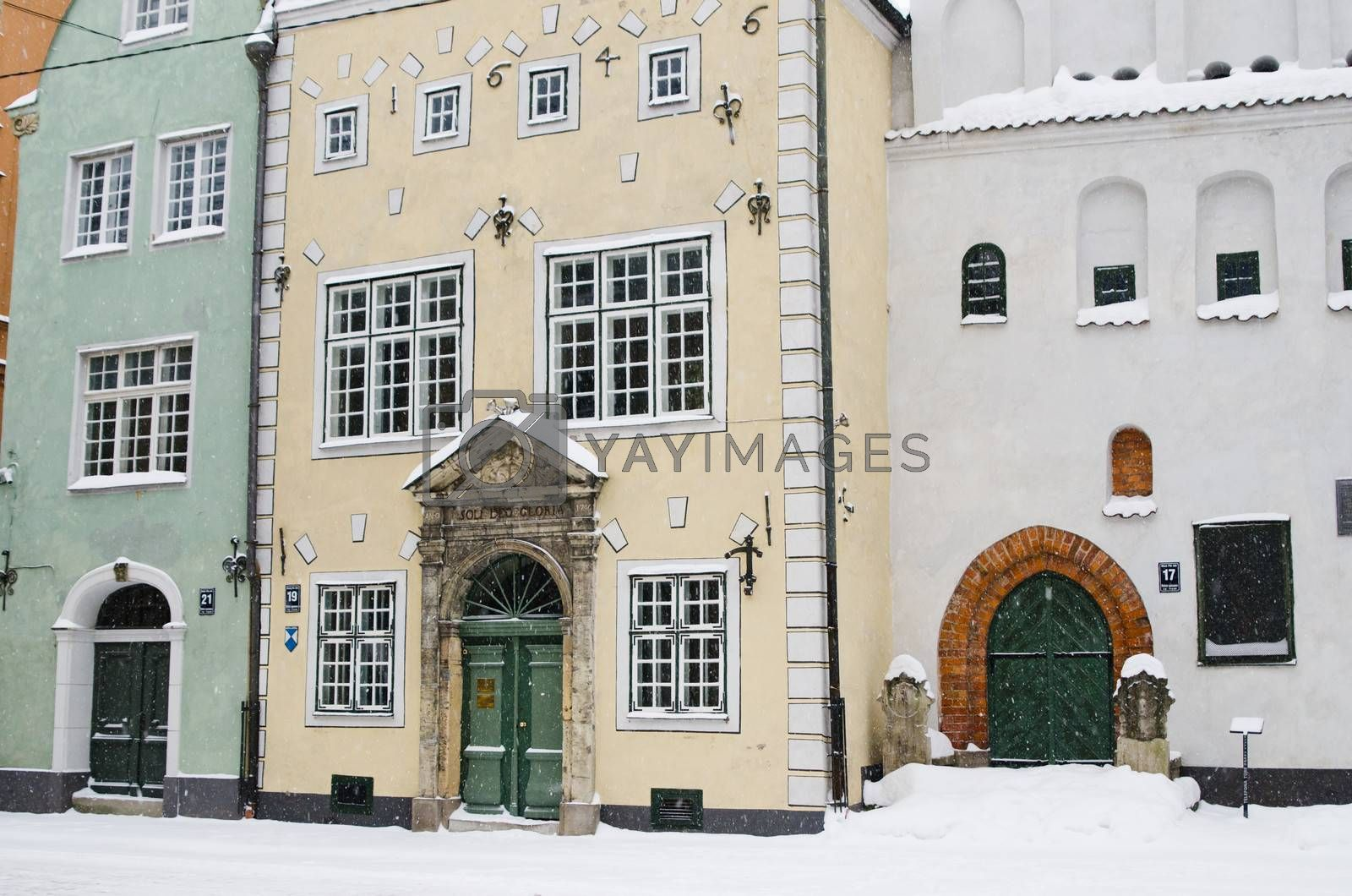 Street of Old Riga in snow day before Christmas