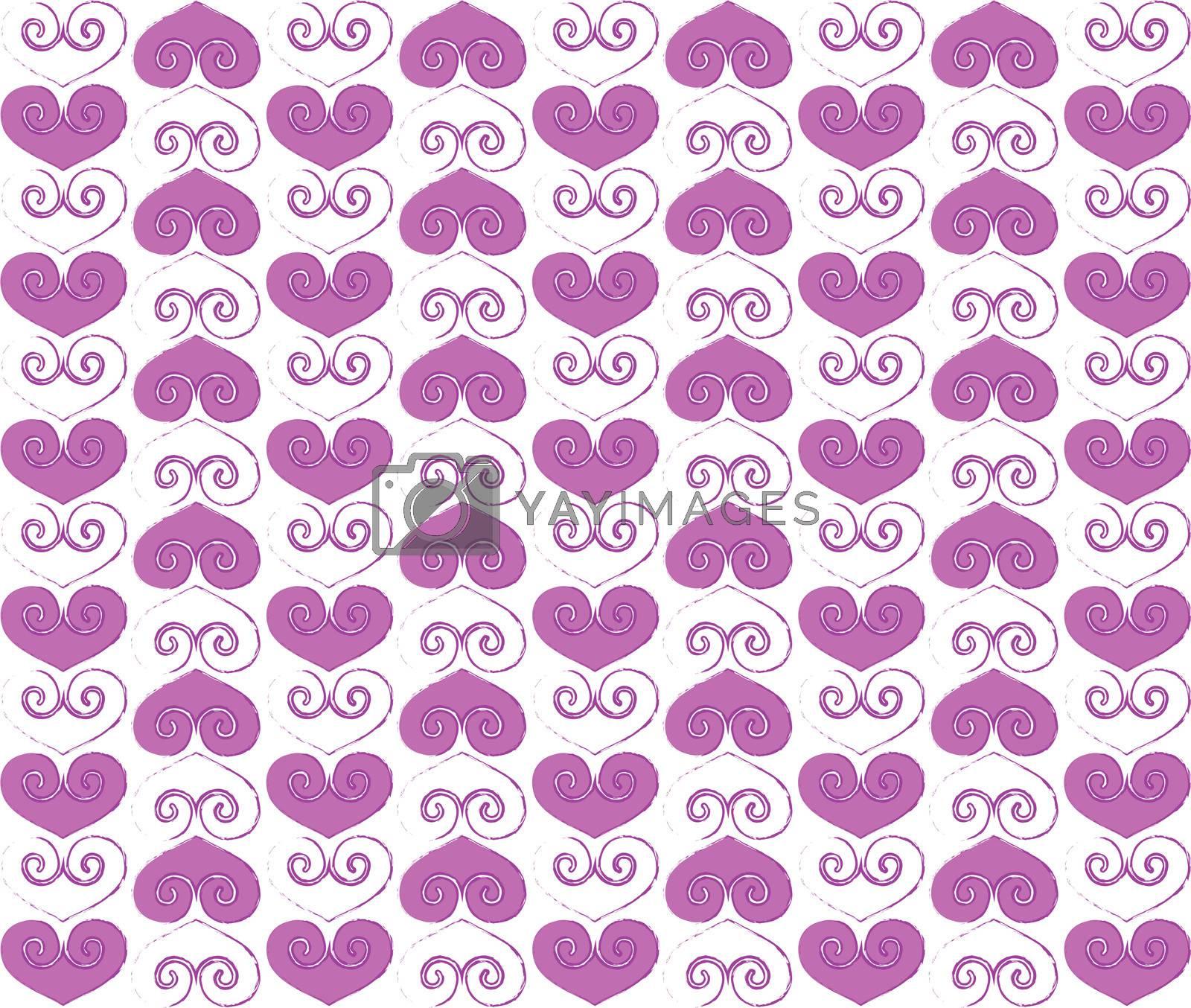Valentine hearts design with purple color contours