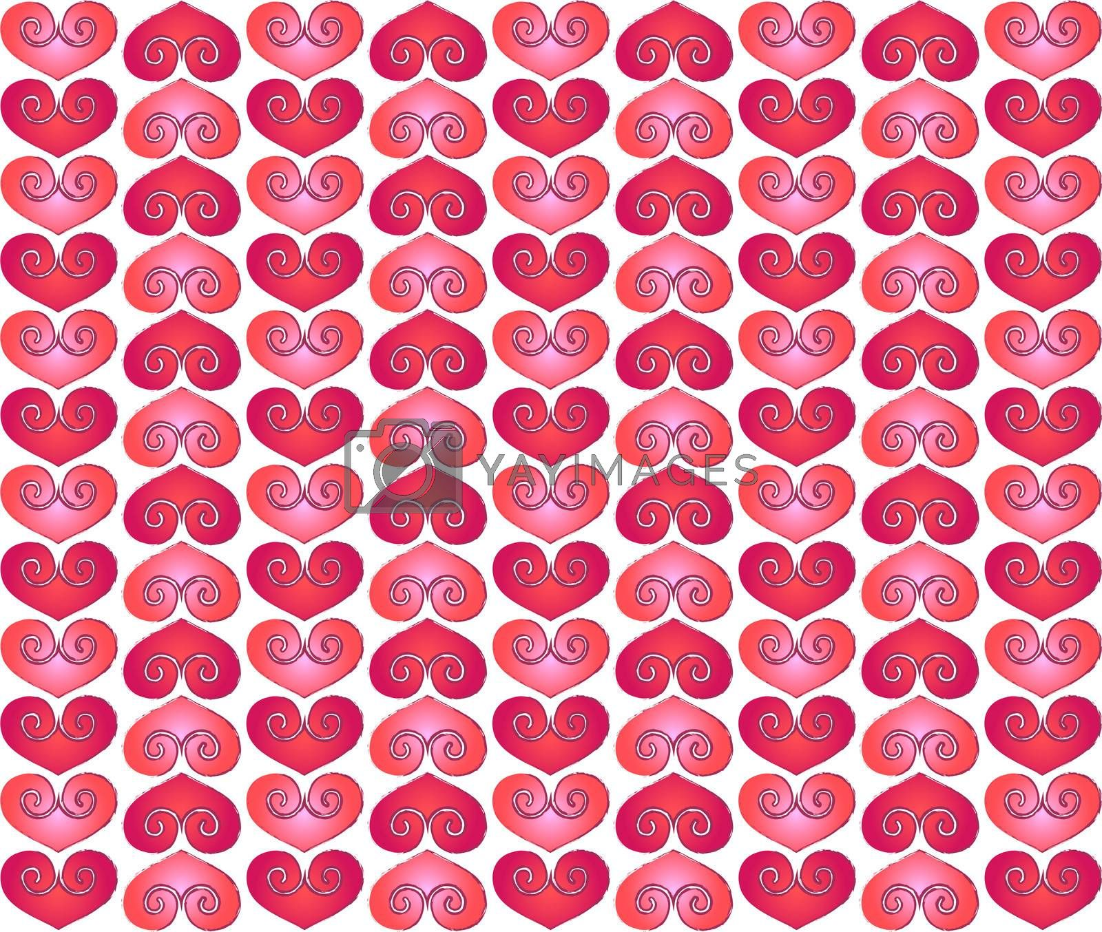 Valentine red hearts design with purple color contours