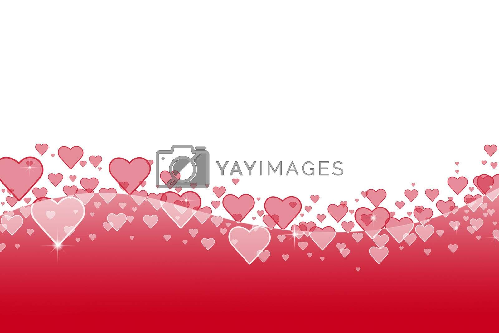 abstract background with flying transparent pink hearts