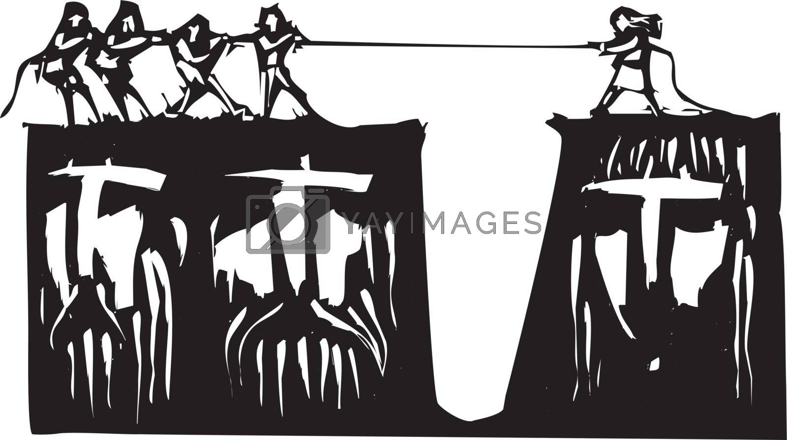 Men and and woman play tug a war over cliffs with gender based faces.