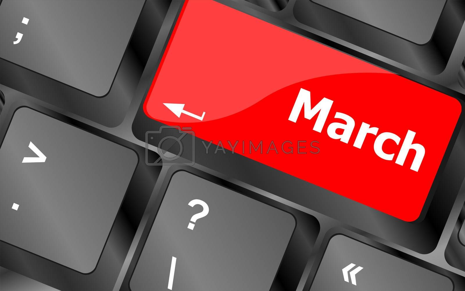 Computer keyboard key with word march on it
