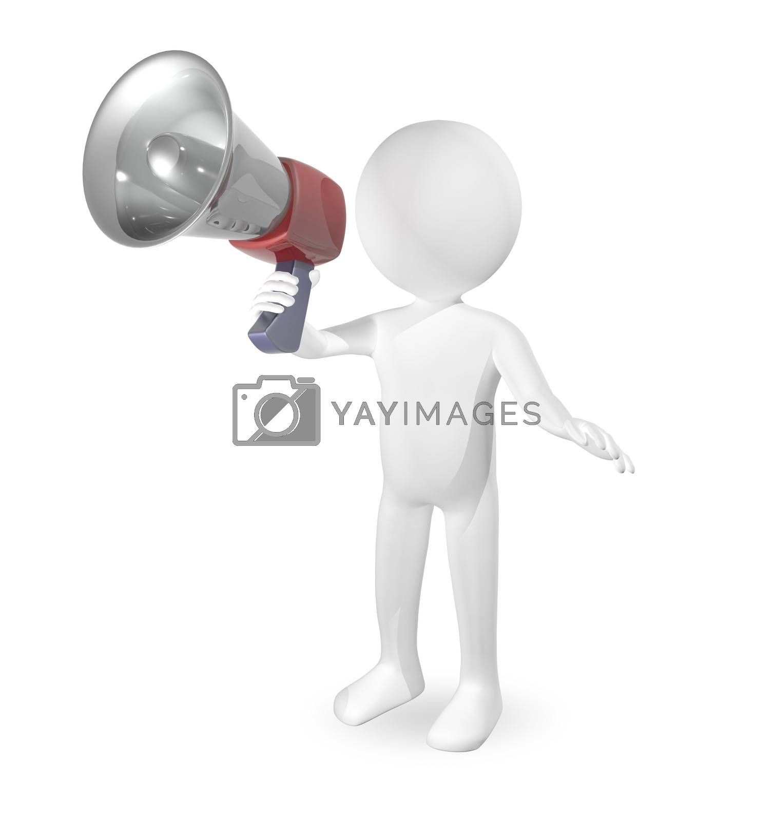 3d abstract illustration man with a loudspeaker