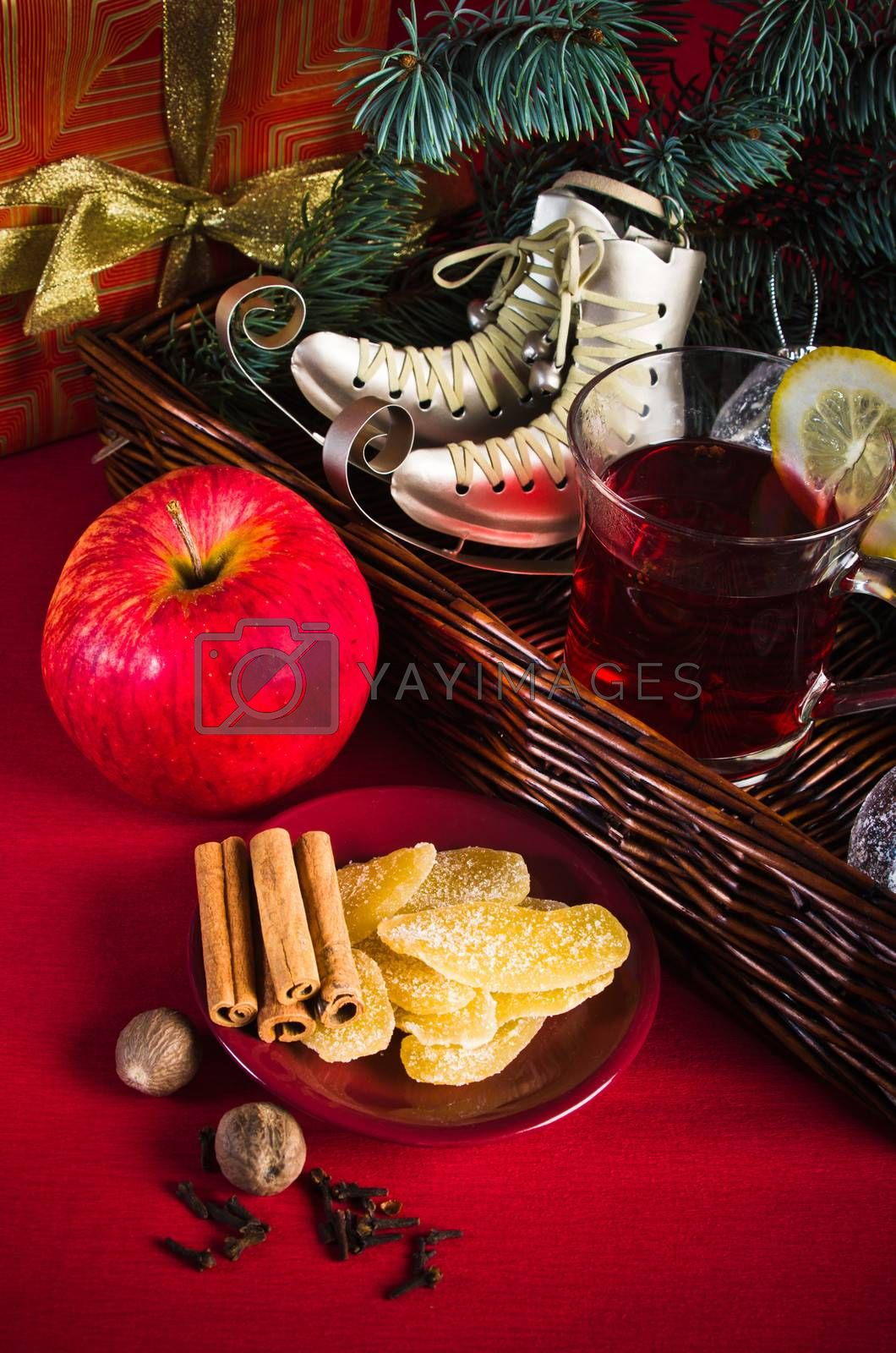 Hot wine punch for winter and Christmas with spices, cookies and decoration
