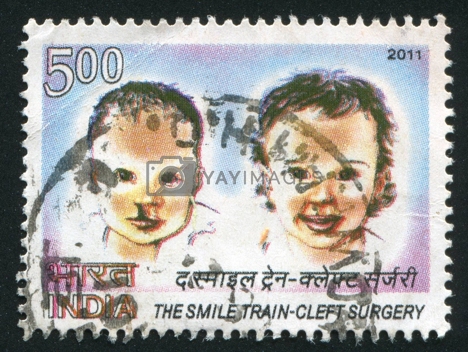 INDIA - CIRCA 2011: stamp printed by India, shows two babies, circa 2011