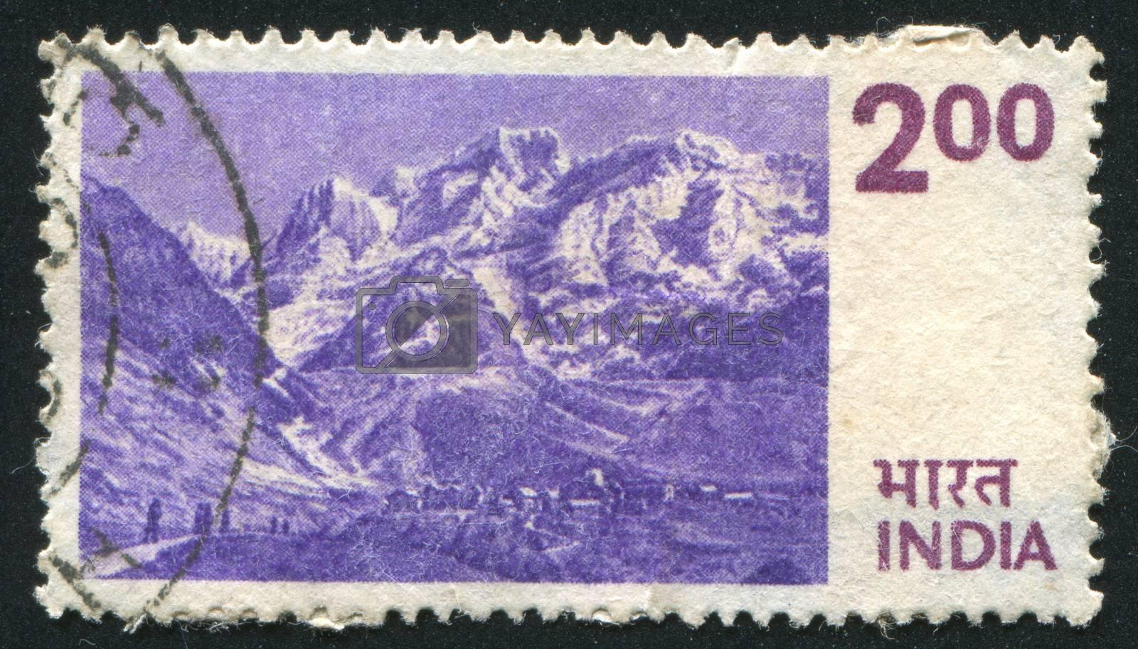 INDIA - CIRCA 1975: stamp printed by India, shows Himalayas, circa 1975