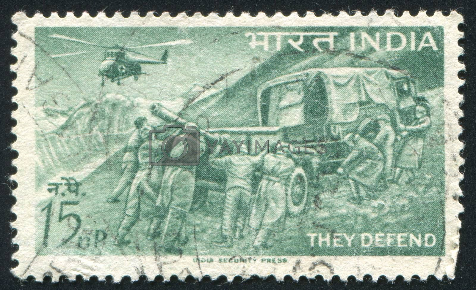 INDIA - CIRCA 1963: stamp printed by India, shows Field Artillery and Helicopter, circa 1963