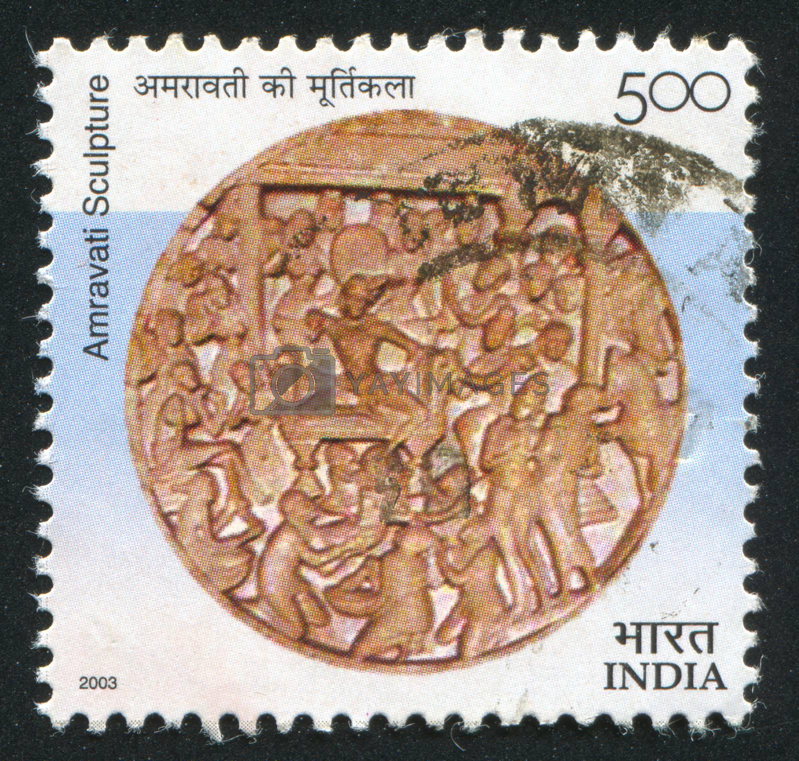 INDIA - CIRCA 2003: stamp printed by India, shows Amravati sculpture, circa 2003