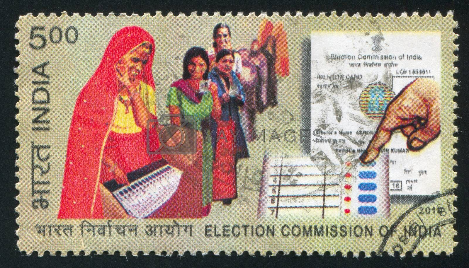 INDIA - CIRCA 2010: stamp printed by India, shows women, election paper, circa 2010