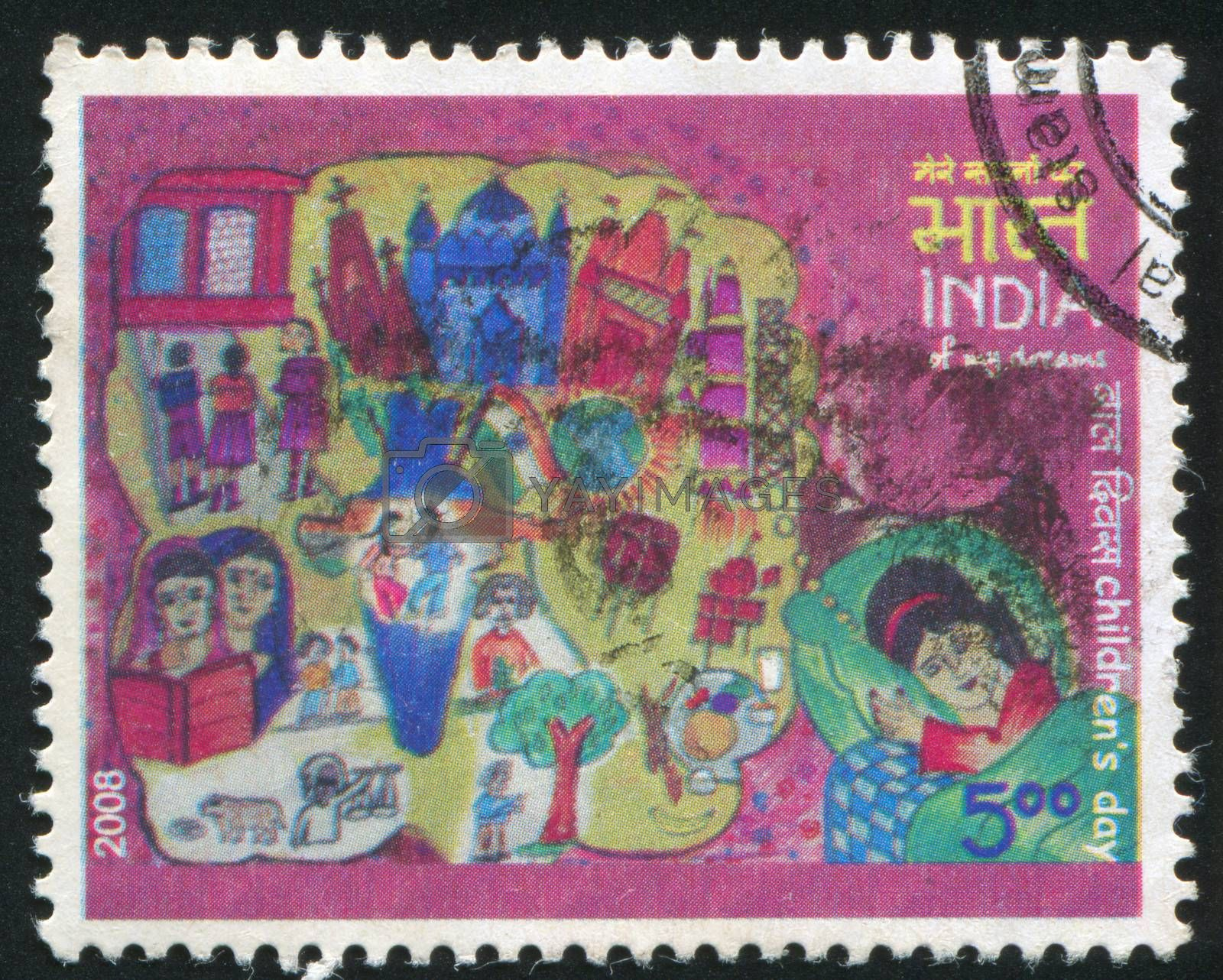 INDIA - CIRCA 2008: stamp printed by India, shows picture of a girl's dream, children, tree, houses, globe, circa 2008