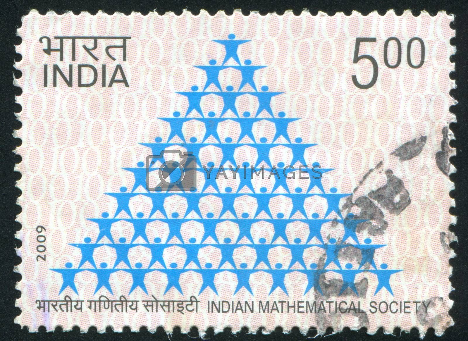 INDIA - CIRCA 2009: stamp printed by India, shows stylized pyramid, circa 2009