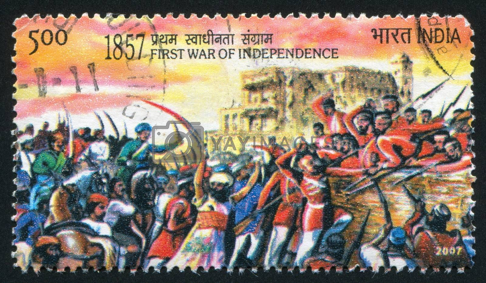 INDIA - CIRCA 2007: stamp printed by India, shows people and soldiers with swords, guns, circa 2007