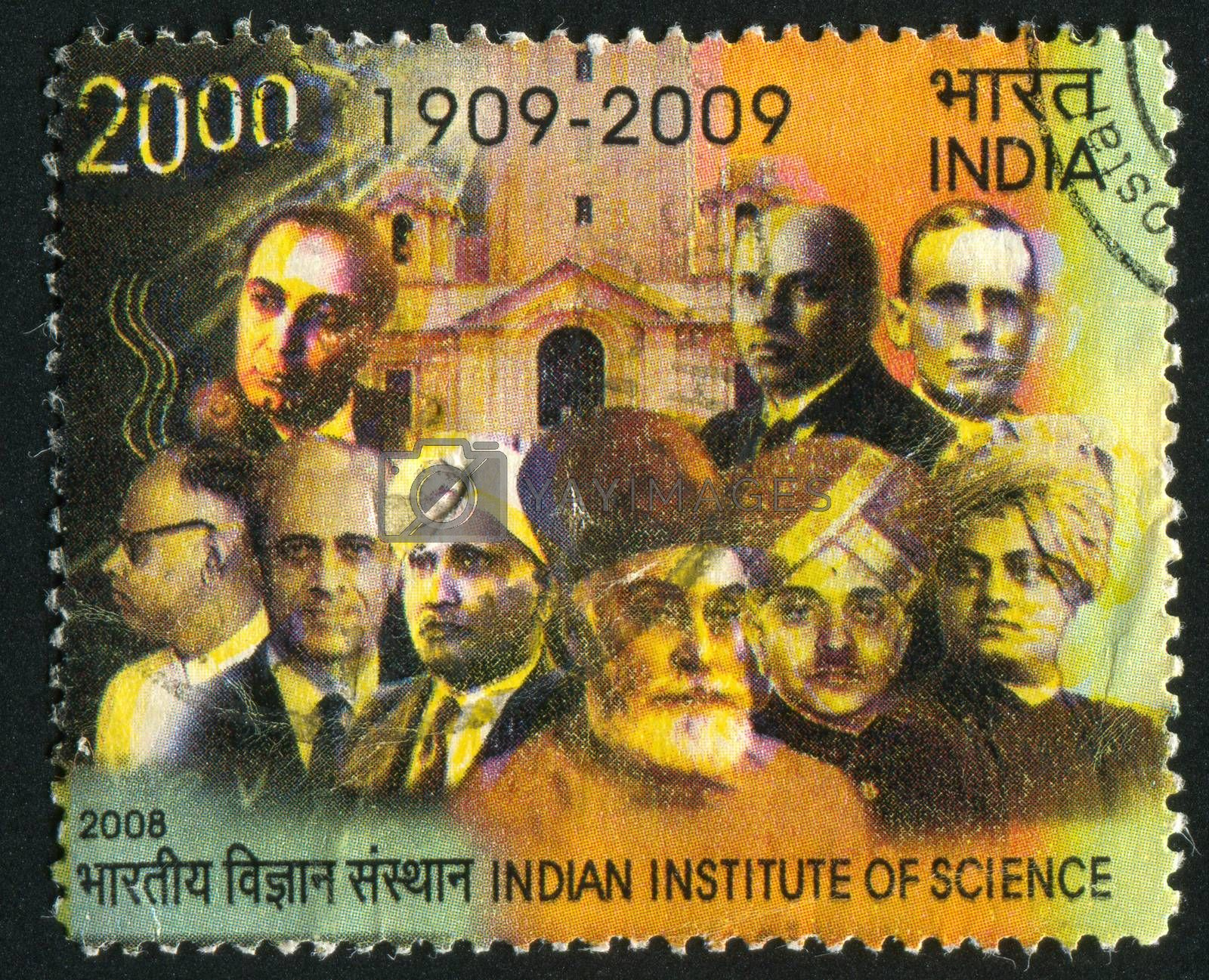 INDIA - CIRCA 2008: stamp printed by India, shows building of institute, scientists, circa 2008